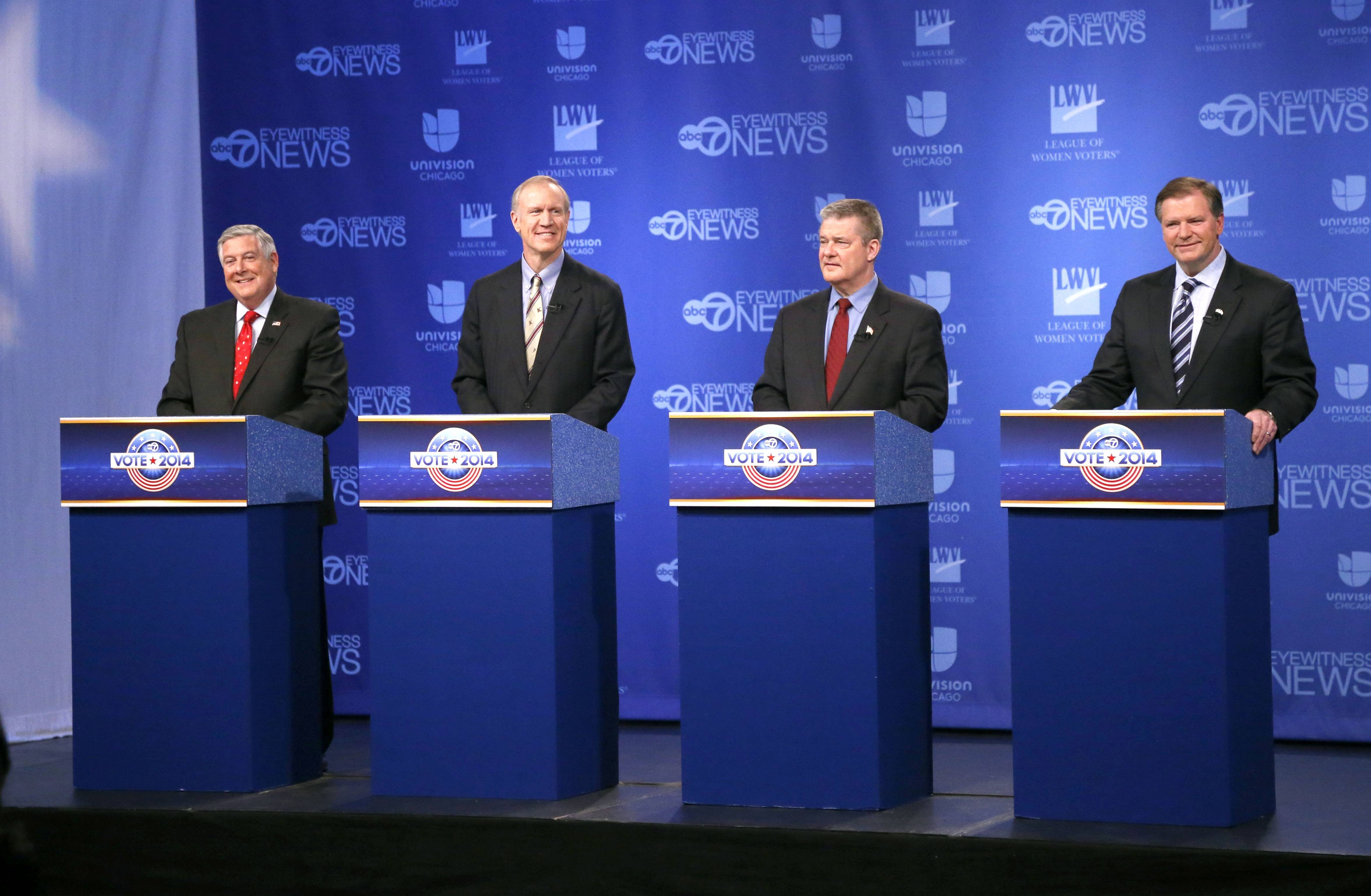 Republican gubernatorial candidates from left, state Sen. Kirk Dillard, Bruce Rauner, state Treasurer Dan Rutherford and state Sen. Bill Brady debated Thursday in Chicago.