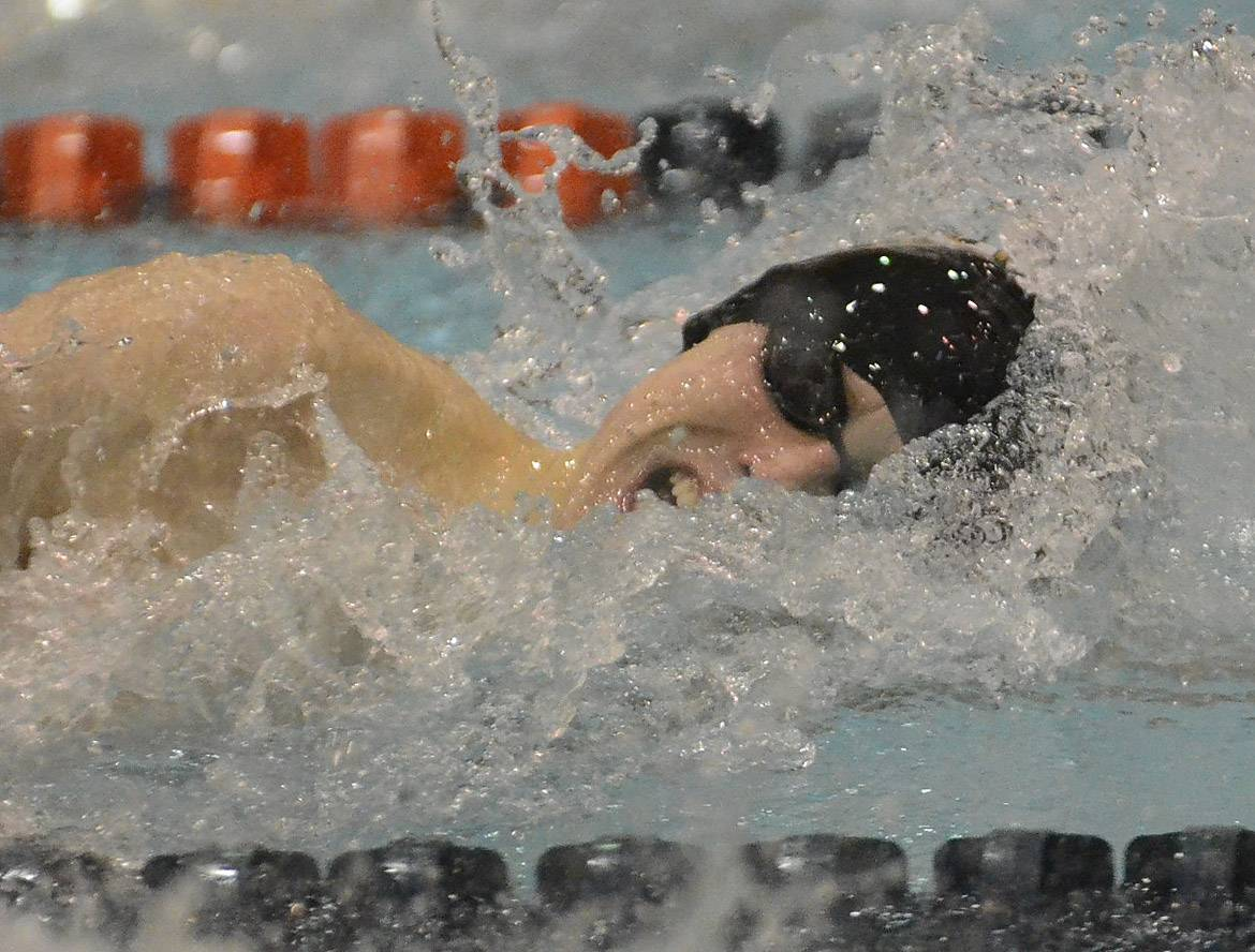 Brenden Bolman of Grayslake North competes in the 100 freestyle during the boys swimming state meet prelims on Friday at Evanston Township High School.