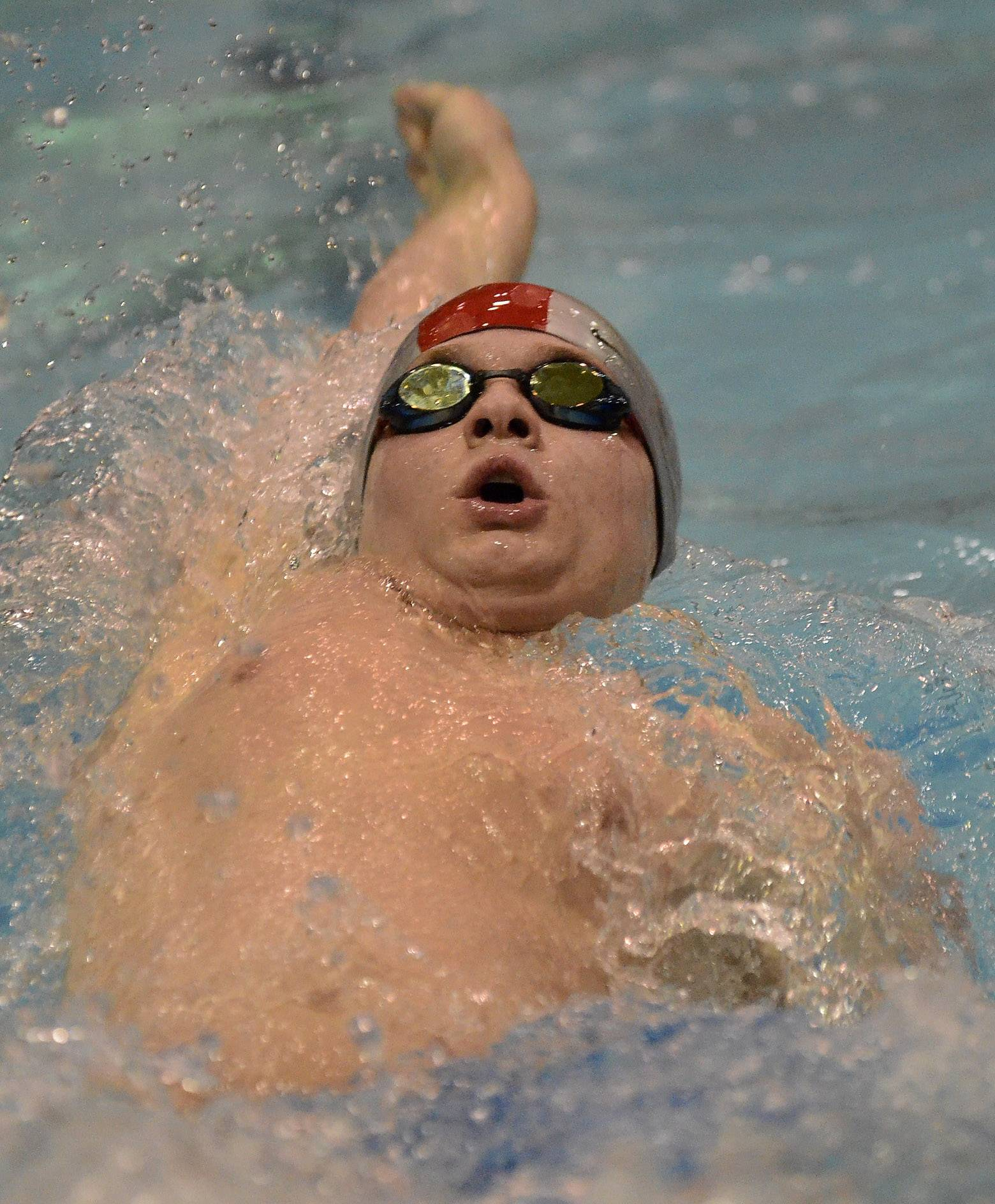 Jake Noel of Wheeling competes during the boys swimming state meet prelims Friday at Evanston Township High School.