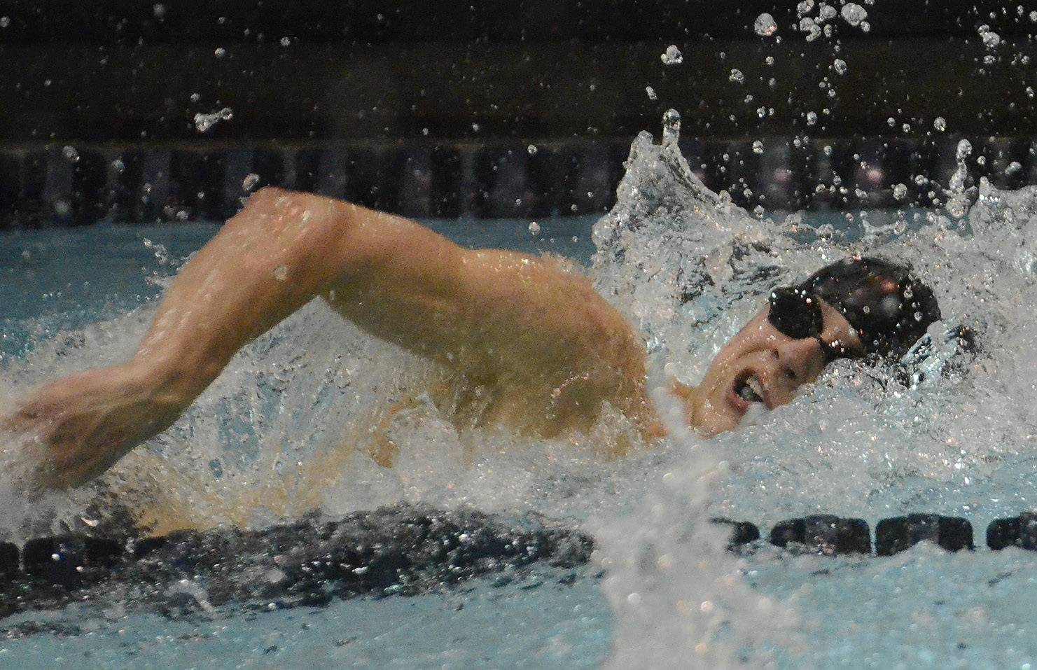 Sebastian Piekarski of Barrington competes in the 100 freestyle during the boys swimming state meet prelims Friday at Evanston Township High School.