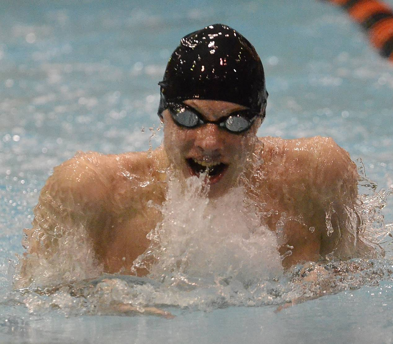 Jordan O'Brien of Metea Valley, Aurora, qualifies second in the 100 breaststroke during the IHSA state swimming prelims Friday at Evanston High School.