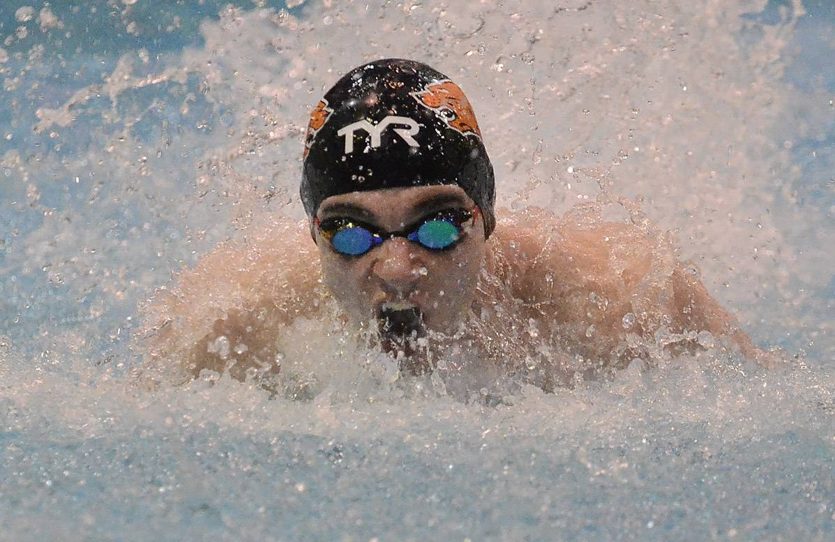 Matt Harrington of Libertyville qualifies second in the 100 butterfly.