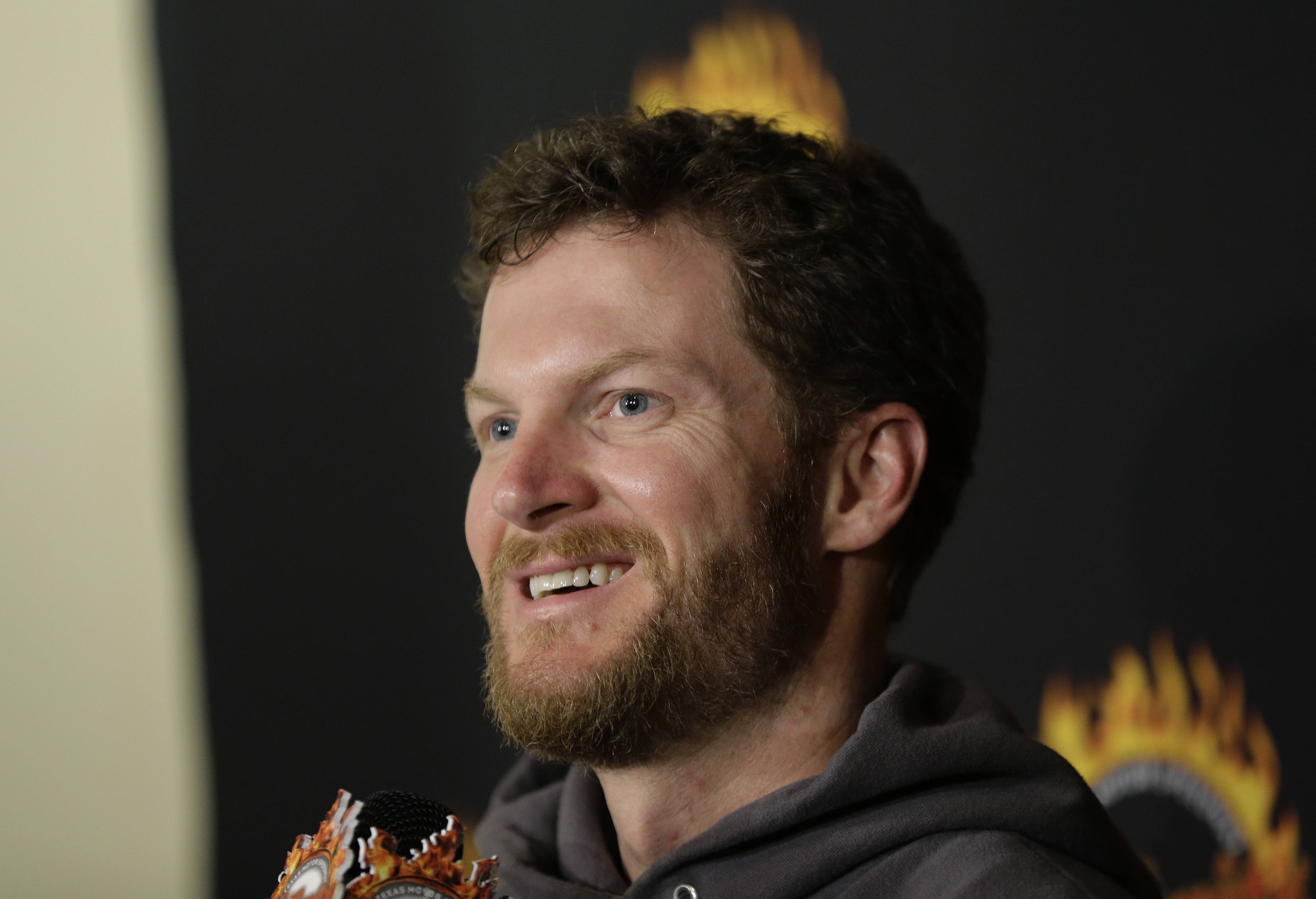 Daytona 500 winner Dale Earnhardt Jr. talks to the media during a victory tour stop, Tuesday, Feb. 25, 2014, in Austin, Texas. Earnhardt won his second Daytona 500 Sunday.