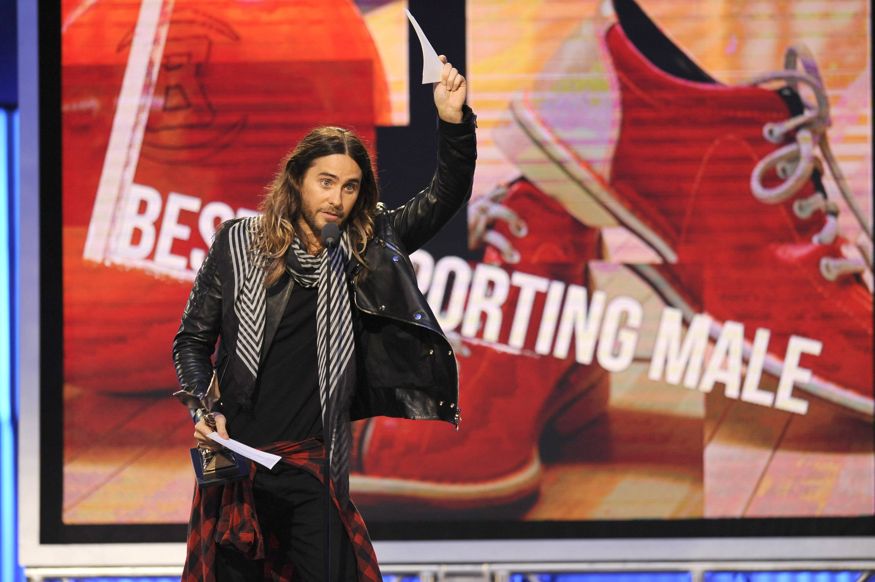 Jared Leto accepts the award for best supporting male on stage at the 2014 Film Independent Spirit Awards, on Saturday in Santa Monica, Calif.