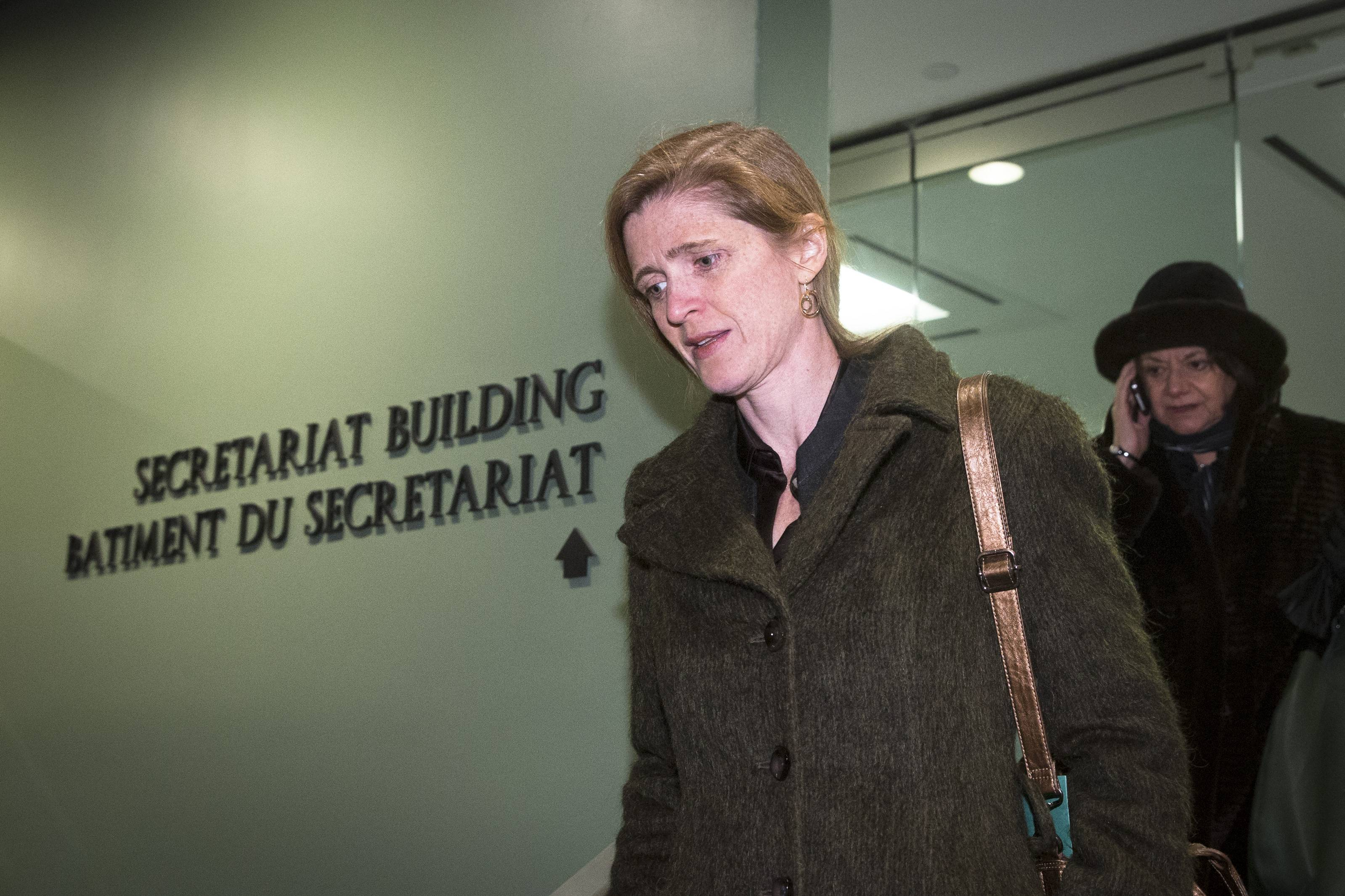 United States U.N. Ambassador Samantha Power arrives Saturday for a private U.N. Security Council meeting on the Ukraine at the United Nations headquarters. Members of the Security Council met in an emergency session on the rapidly developing events in Ukraine's Crimea region.
