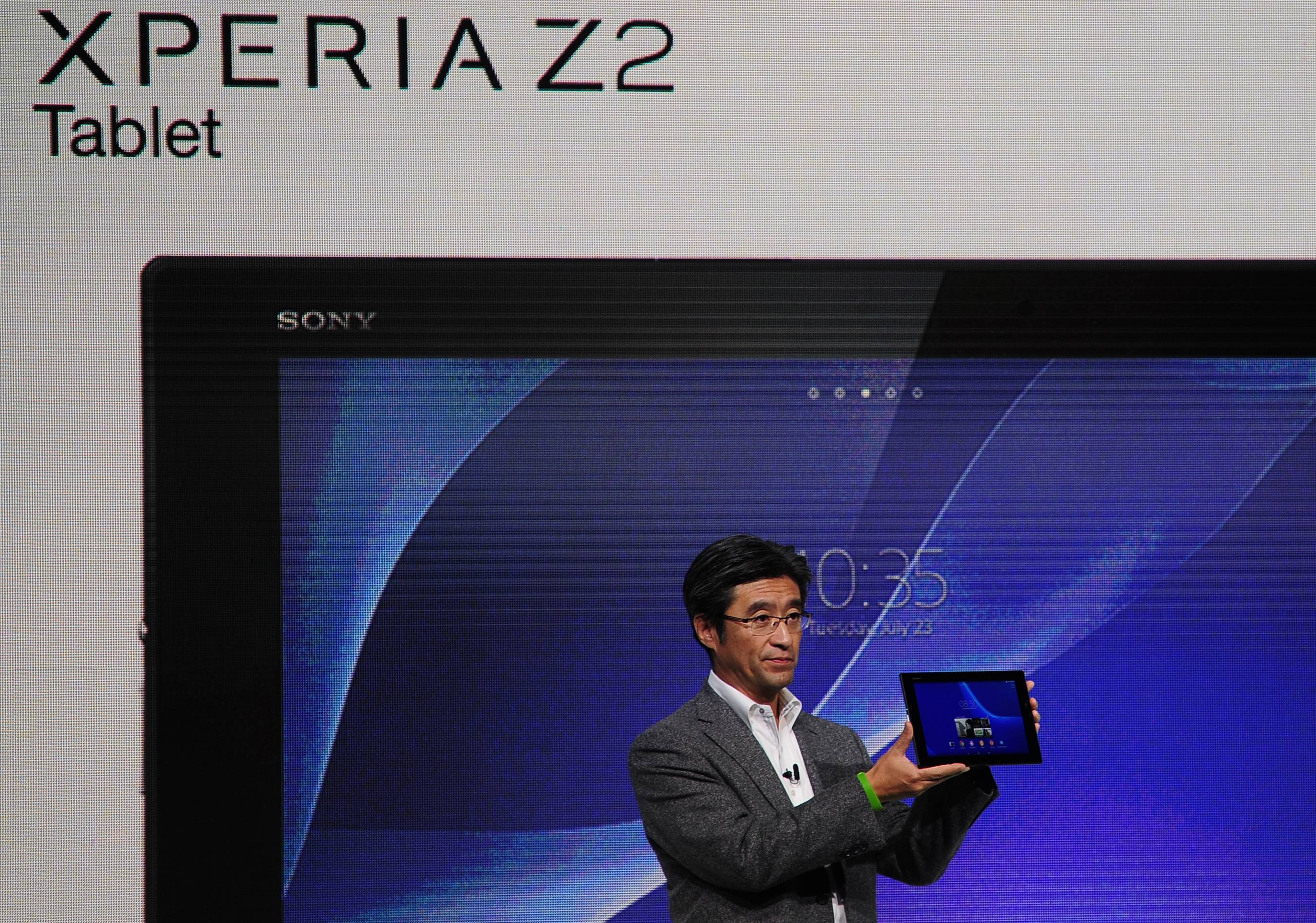 President and CEO of Sony Mobile Communications Kunimasa Suzuki presents the Xperia Z2 tablet during the Mobile World Congress, the world's largest mobile phone trade show in Barcelona, Spain.