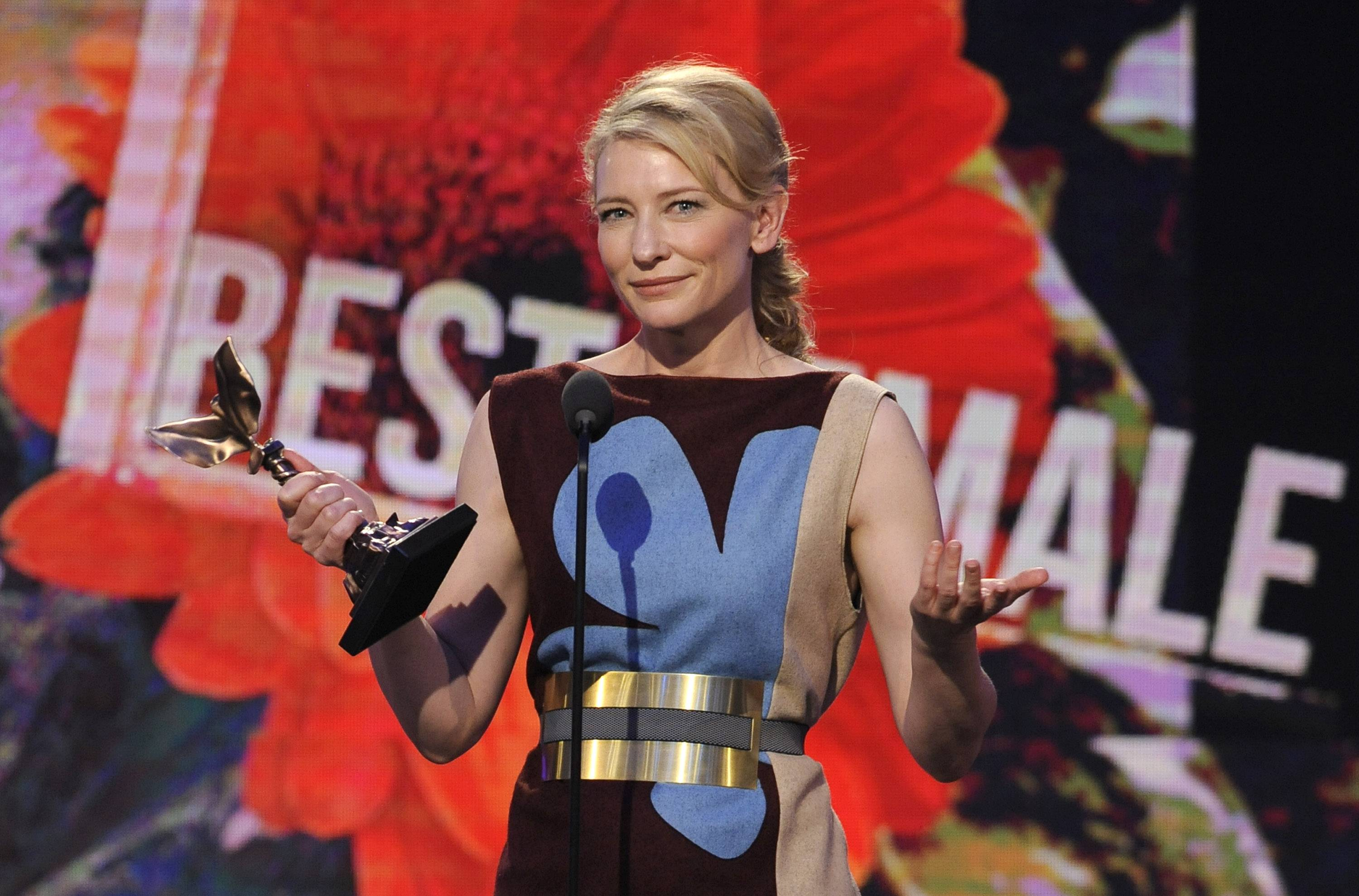 "Cate Blanchett accepts the award for best female lead for ""Blue Jasmine"" on stage at the 2014 Film Independent Spirit Awards, on Saturday in Santa Monica, Calif."