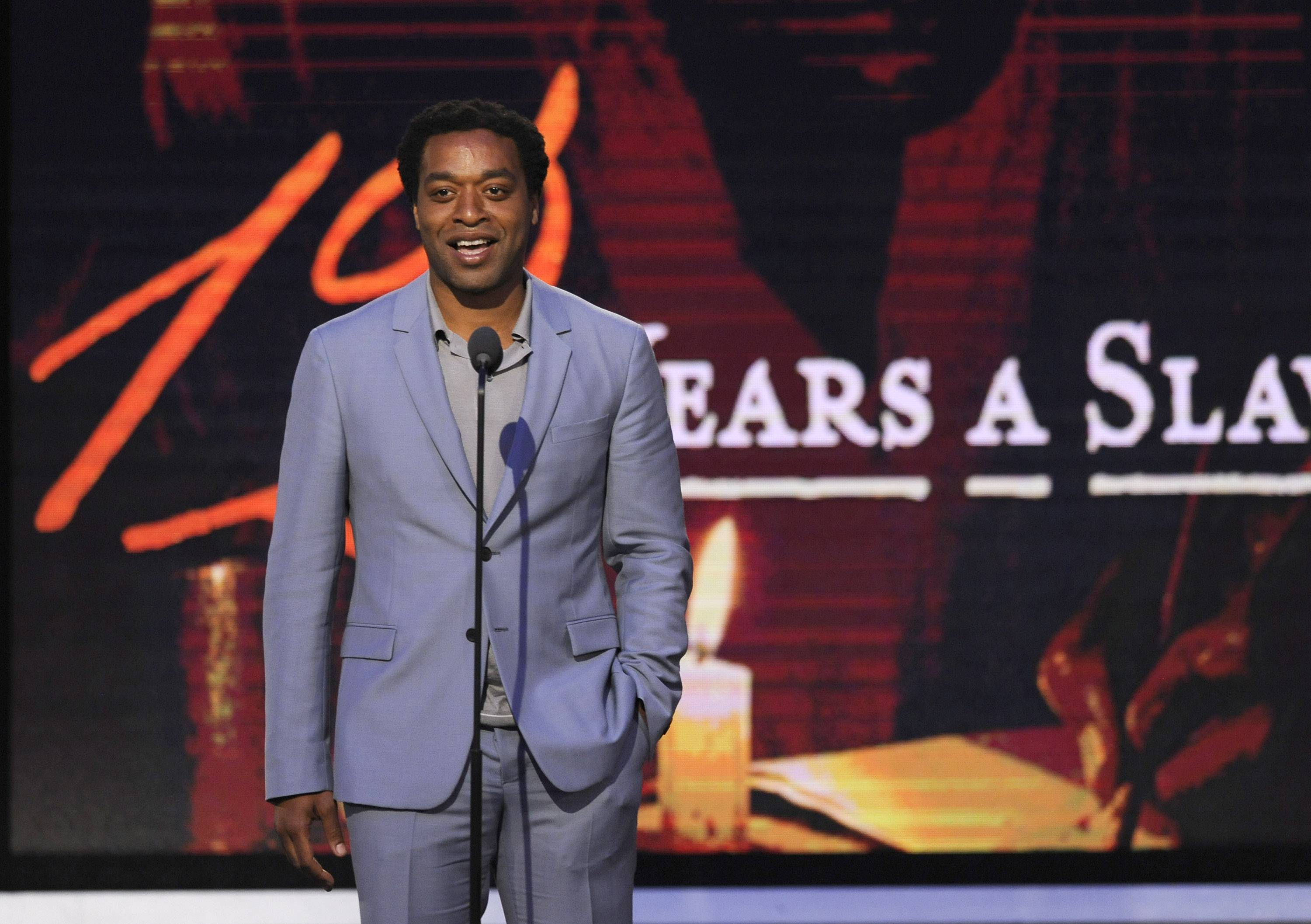 Chiwetel Ejiofor speaks on stage at the 2014 Film Independent Spirit Awards, on Saturday in Santa Monica, Calif.