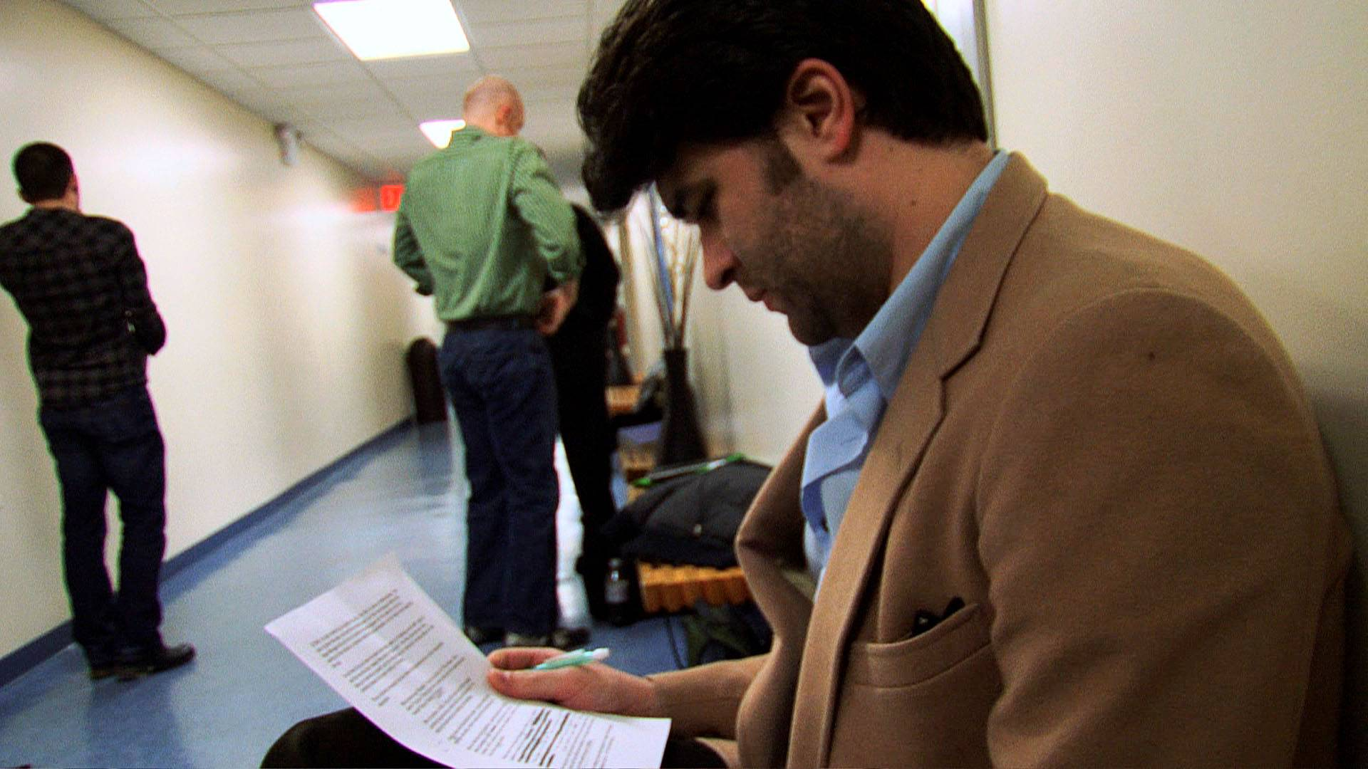 "Actor Ben Crawford studies lines in the documentary ""The Standbys,"" about actors who are hired to wait in the wings of Broadway shows each night, in case the star of the show gets injured or sick."
