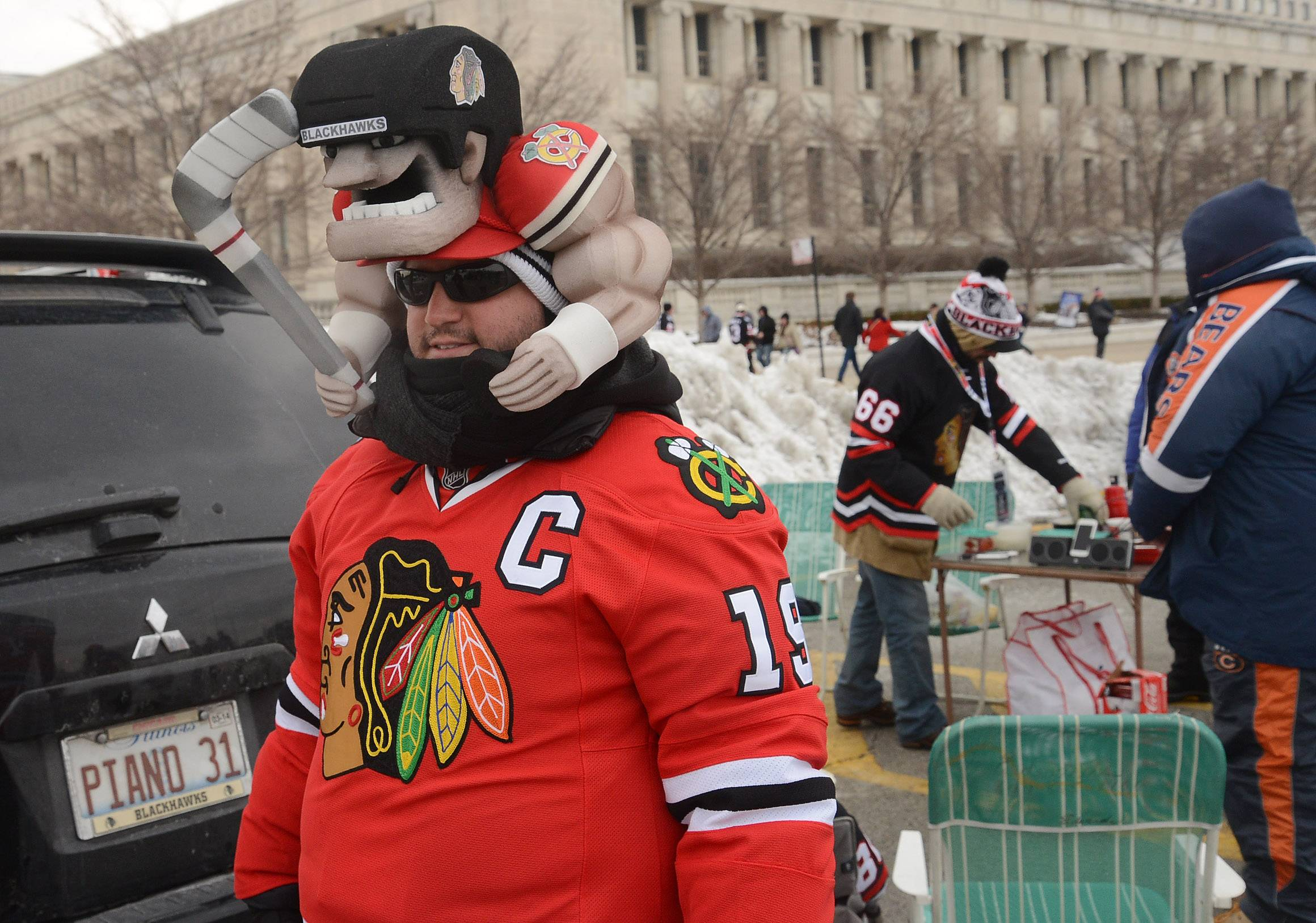 Tim Edwards from Rosemont tailgating before Saturday's Coors Light Stadium Series game at Soldier Field between the Blackhawks and Pittsburgh Penguins.