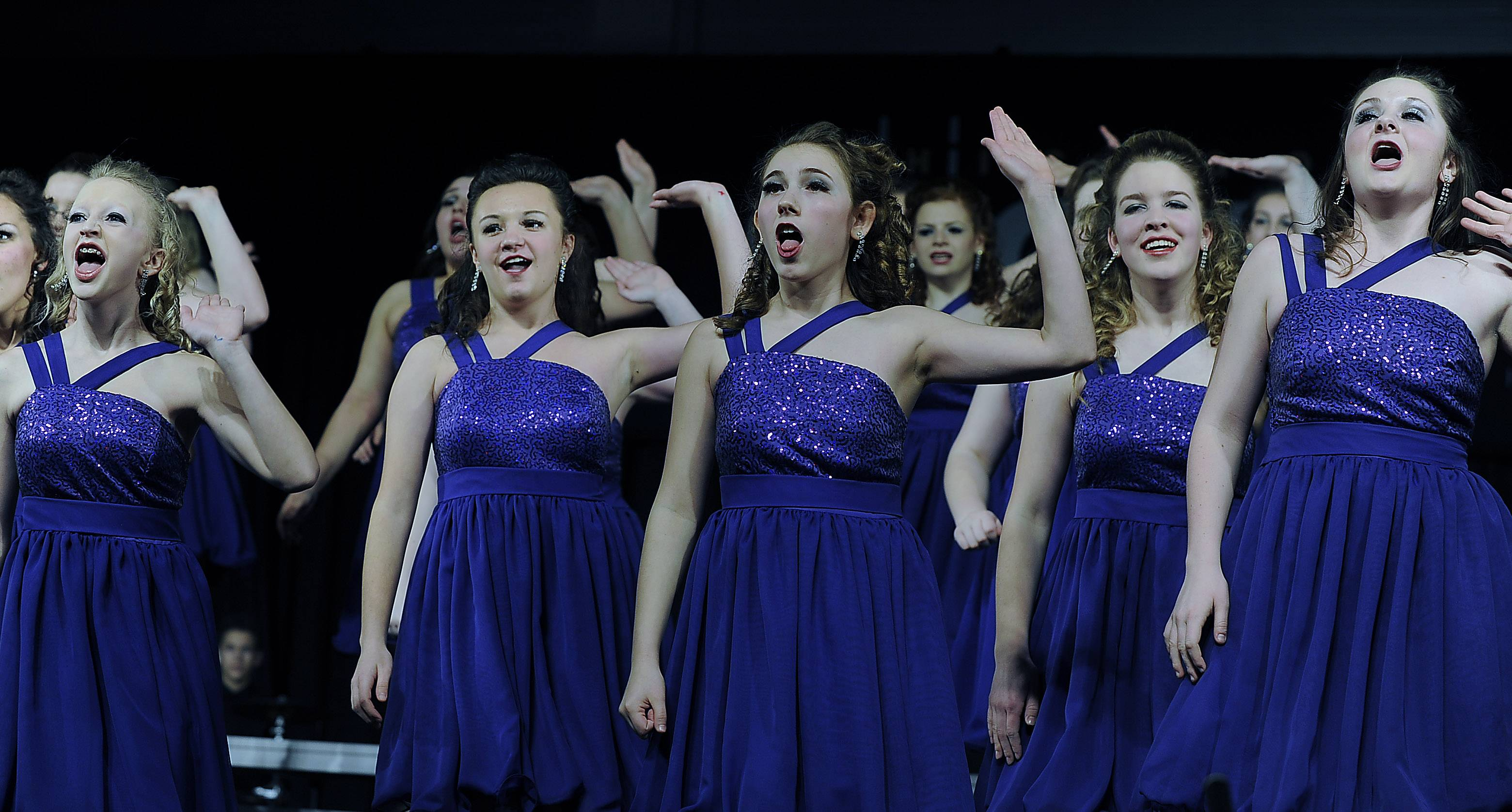 Members of the Batavia High School choir Legacy at the Chicagoland Showcase 2014 at Hersey High School on Saturday.