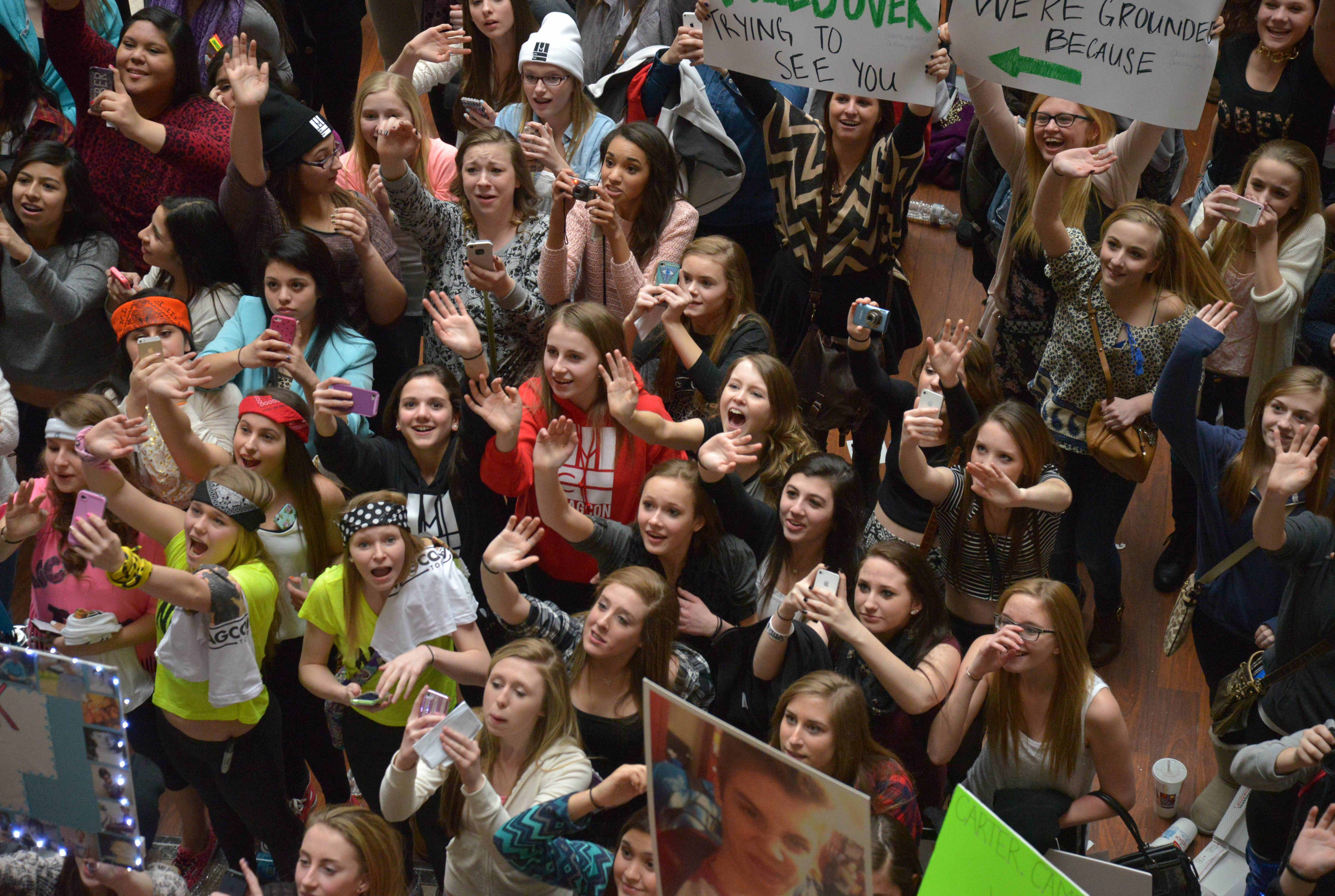 The teenage boys who have become social media stars with their 6-second videos on Vine were at the Westin Chicago in Itasca to meet their fans. These young girls were waiting their turn to meet them.