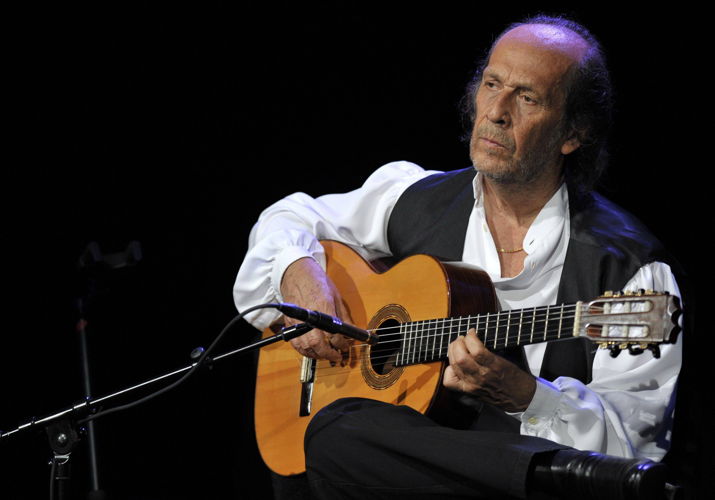 Spanish flamenco guitarist Paco de Lucia performs on the Miles Davis Hall stage at the 44th Montreux Jazz Festival, in Montreux, Switzerland.