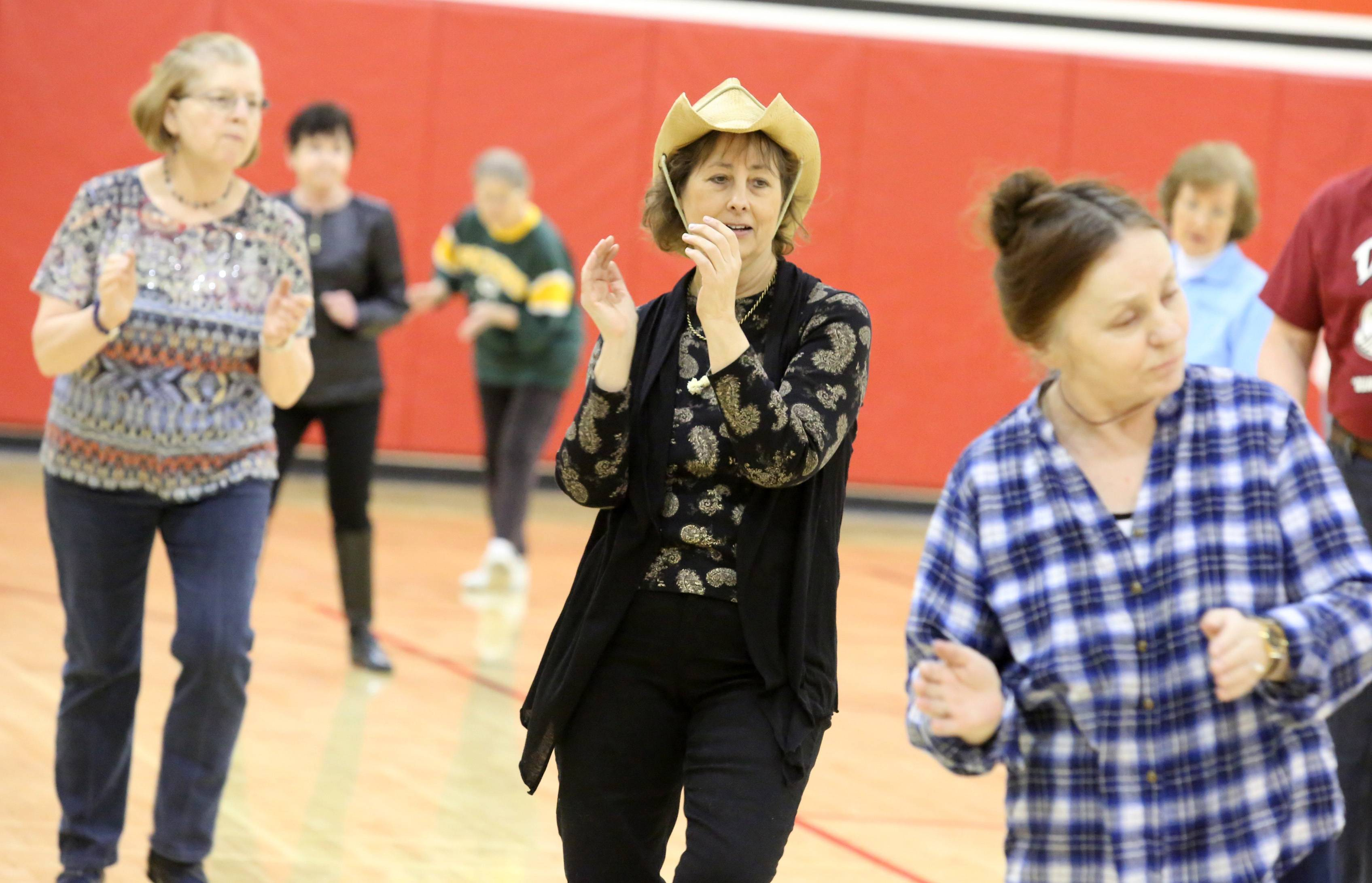 Susan Moore of Antioch, center, and 35 others participated in line dancing at Fox Lake Business & Family Expo at Grant High School on Saturday in Fox Lake.