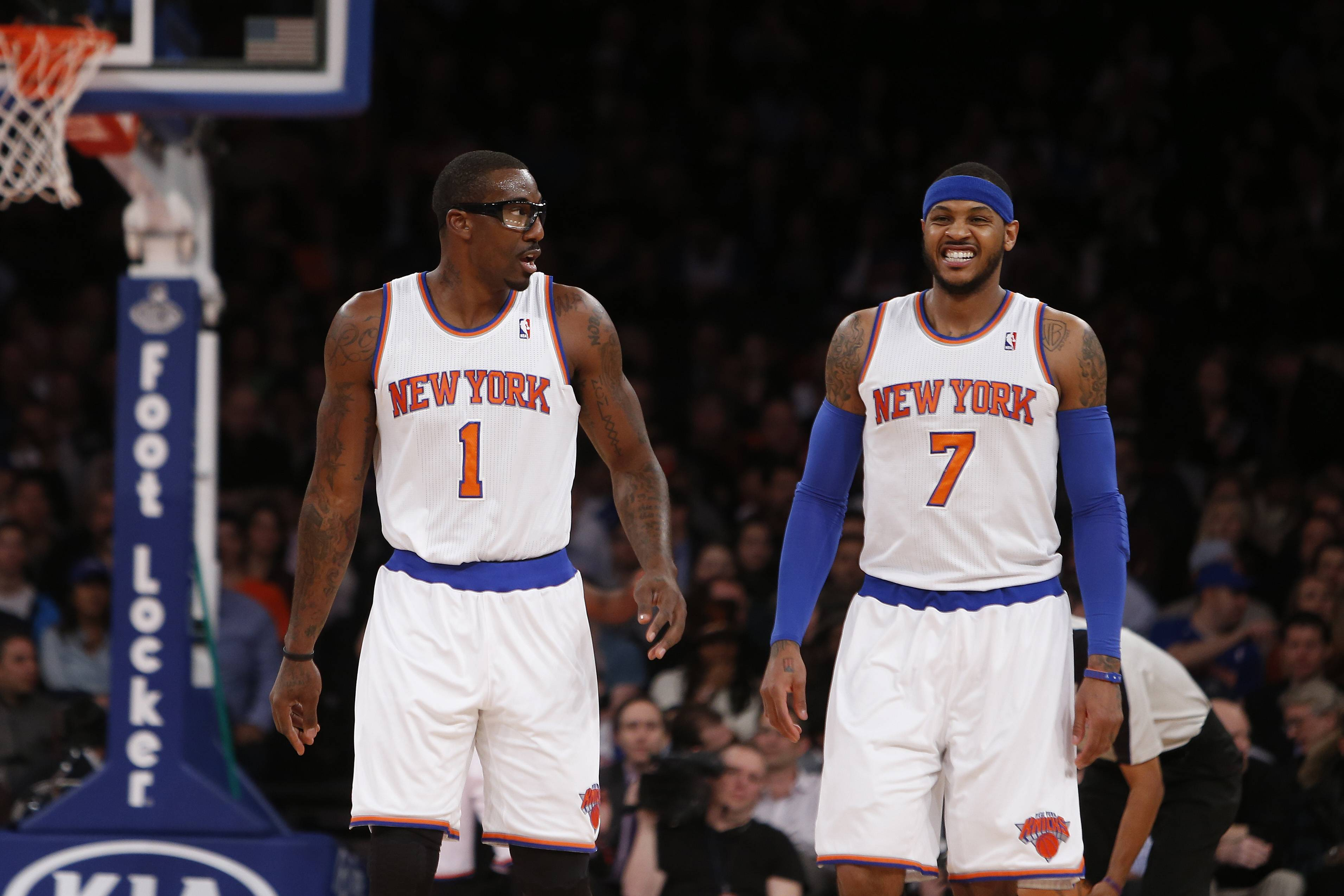 How long will Amar'e Stoudemire, left, and Carmelo Anthony be teammates? Anthony will be a free agent at the end of this season.