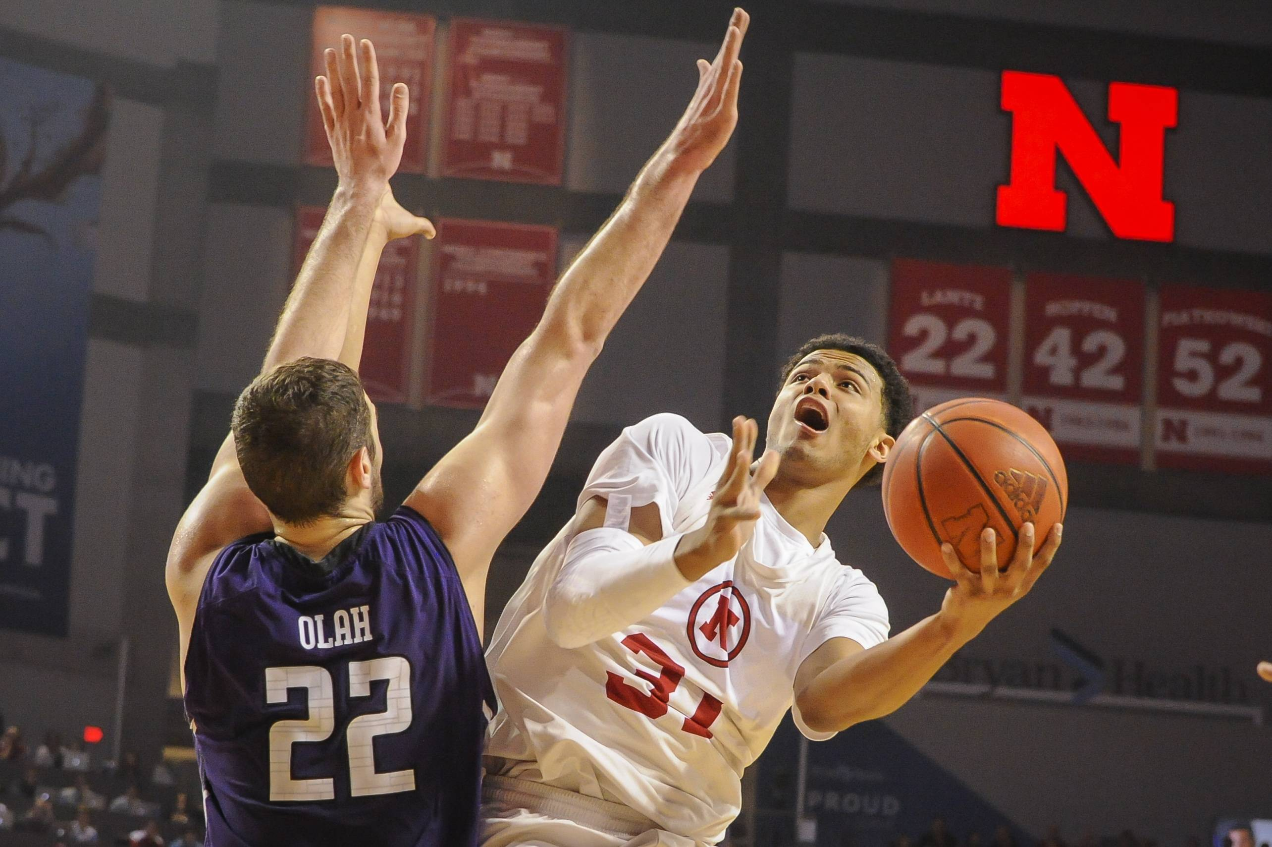 Nebraska's Shavon Shields (31) shoots against Northwestern center Alex Olah (22) during an NCAA college basketball game Saturday in Lincoln. The Huskers beat the Wildcats 54-47.