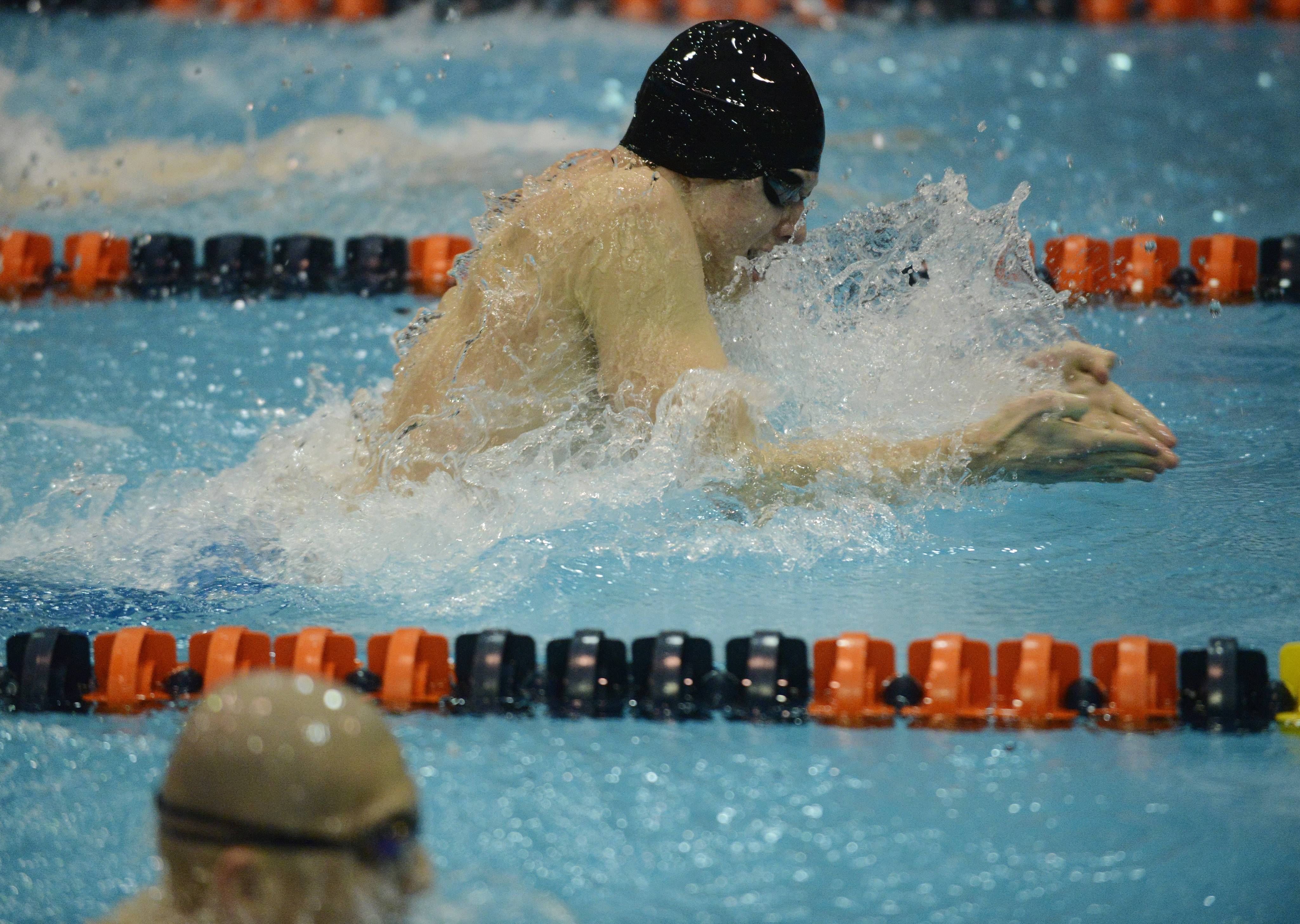 Jordan O'Brien of Matea Valley swims toward a win in the 100-yard breaststroke during the boys state swimming meet at Evanston High School Saturday.