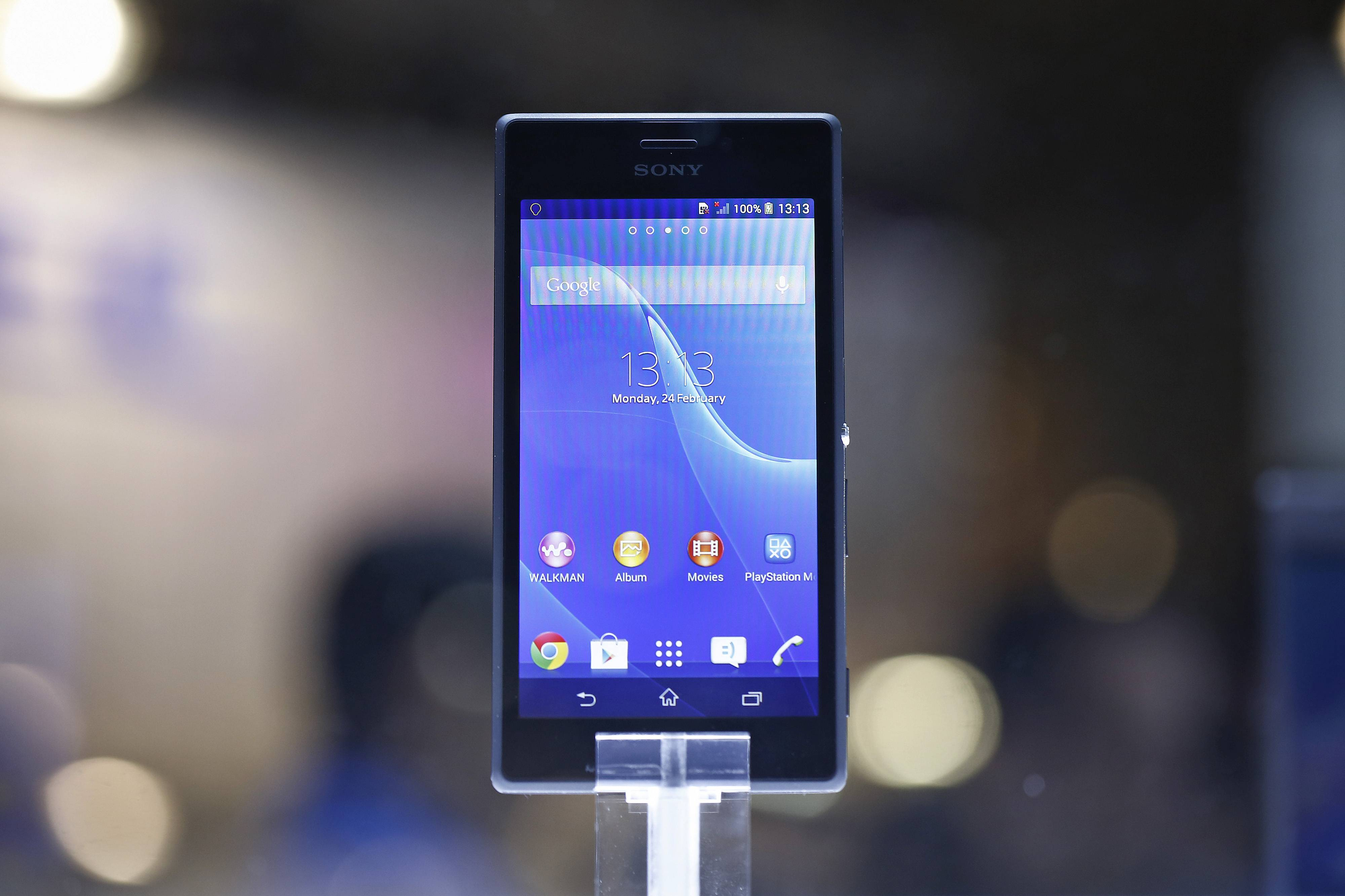 A Sony Xperia Z2 smartphone sits on display at the Sony Corp. pavilion on the opening day of the Mobile World Congress in Barcelona, Spain, on Monday, Feb. 24, 2014.