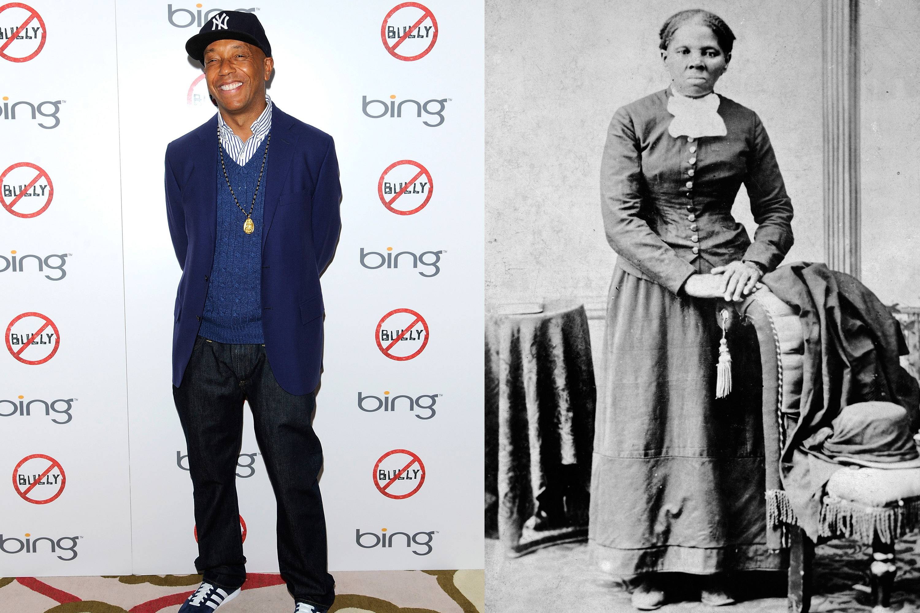 This combination of 2012 and circa 1860-1875 photos shows hip-hop mogul Russell Simmons and abolitionist Harriet Tubman. In 2013, Simmons apologized for posting a parody video of Tubman having sex with her white slave master as someone films it so the abolitionist can bribe her boss. Appearing on his All Def Digital YouTube channel, Simmons said he removed it after a call from the NAACP.
