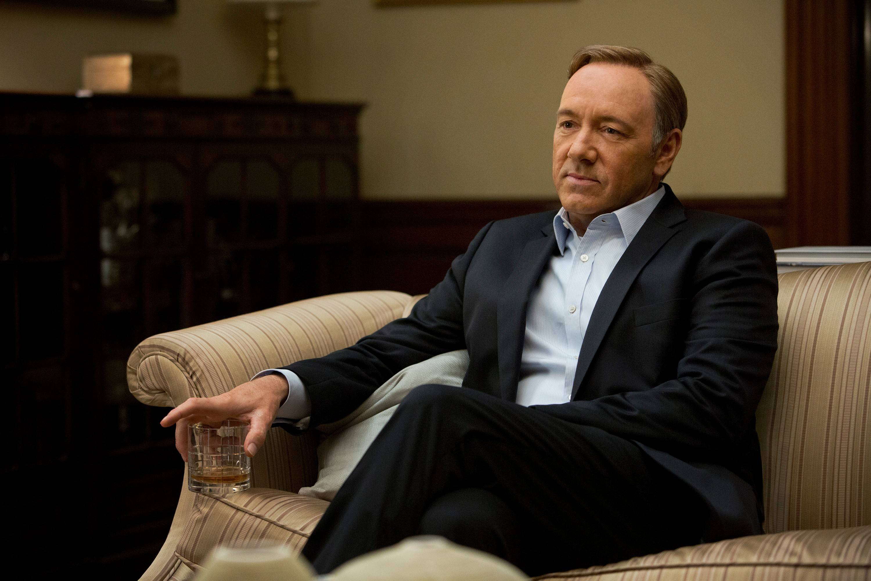 "This image released by Netflix shows Kevin Spacey in a scene from the Netflix original series, ""House of Cards,"" an adaptation of a British classic."