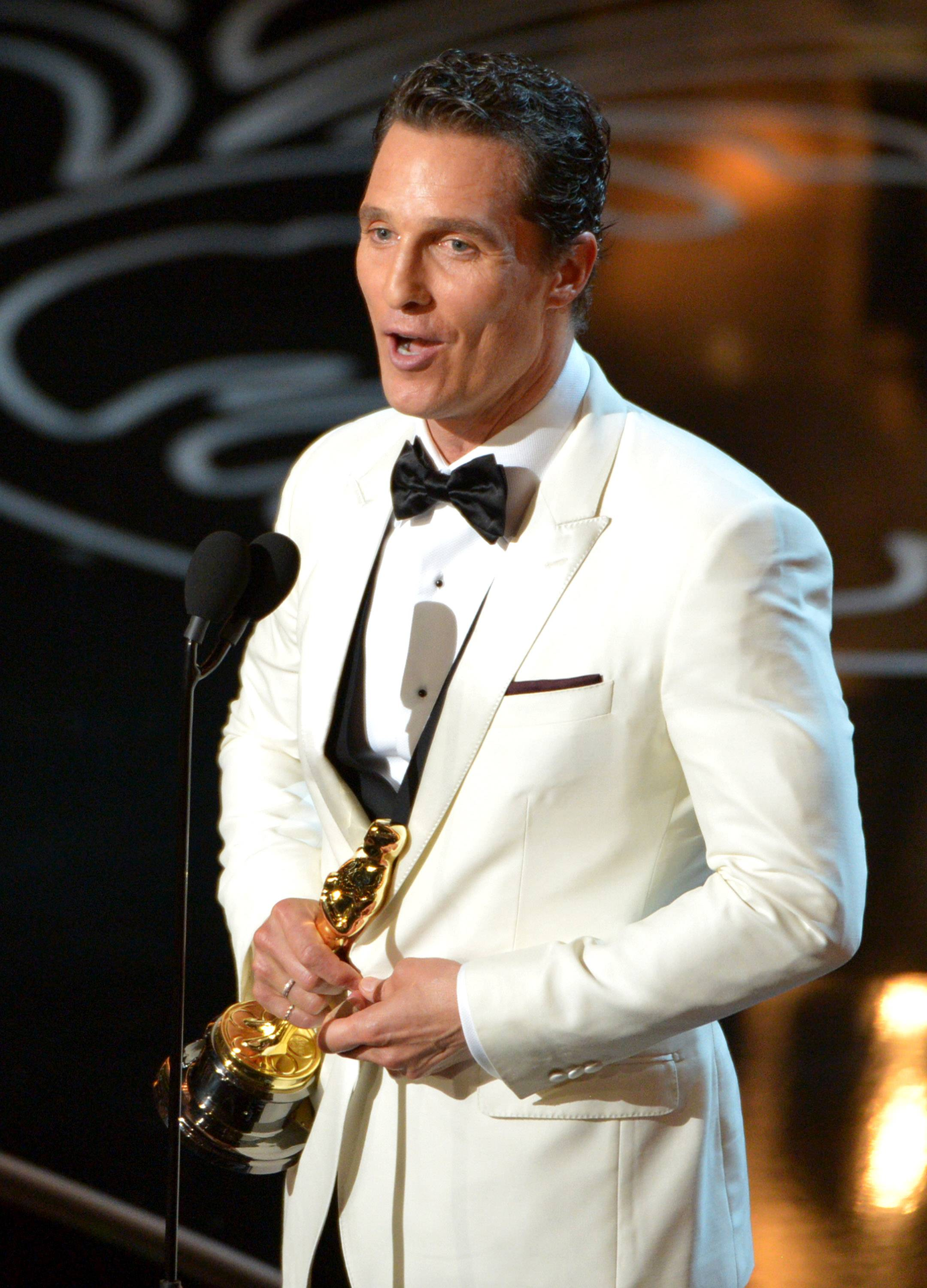 "Matthew McConaughey accepts the award for best actor in a leading role for ""Dallas Buyers Club."""
