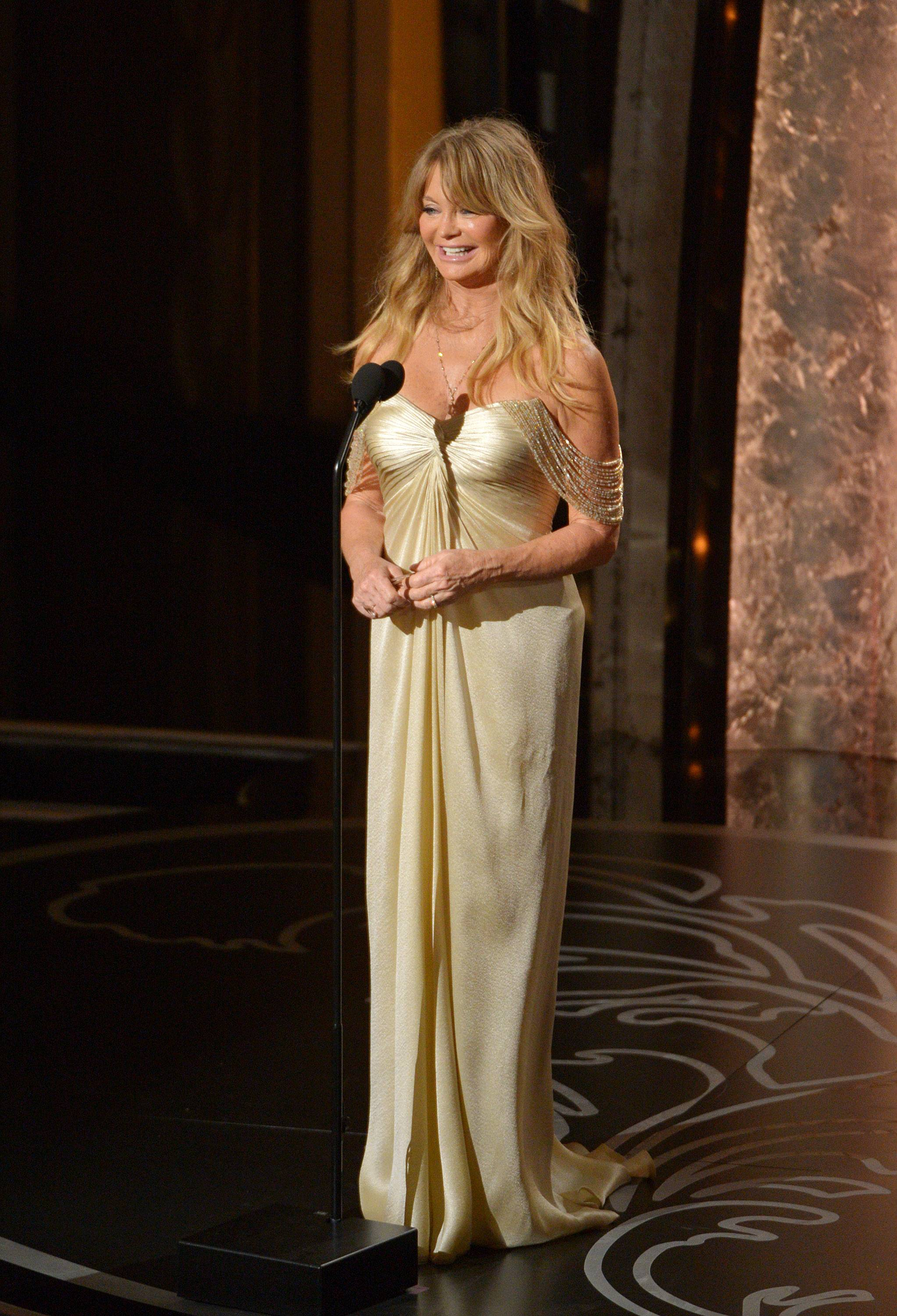 Presenter Goldie Hawn speaks during the Oscars at the Dolby Theatre on Sunday