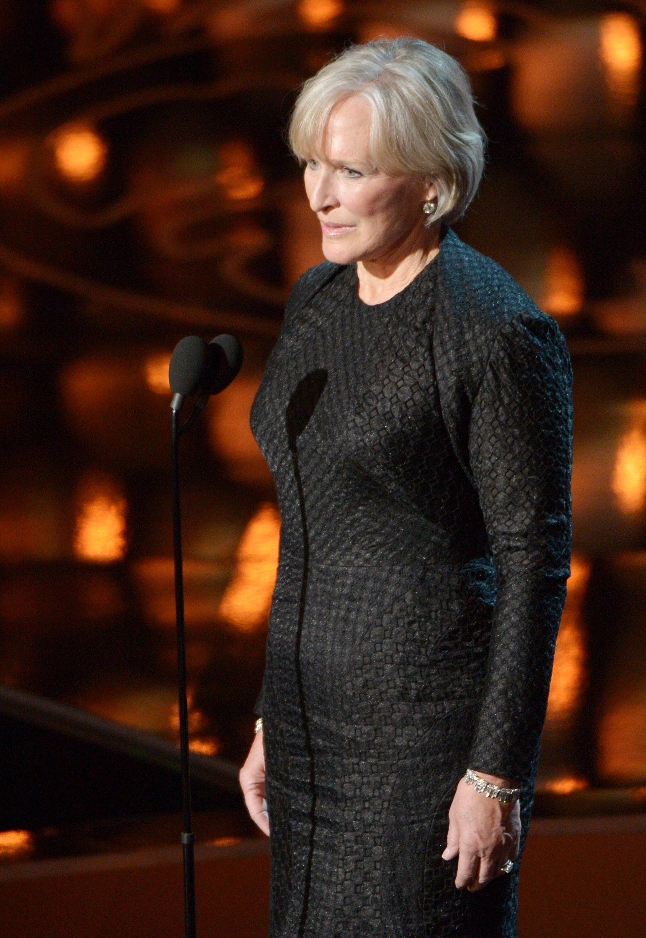 Glenn Close speaks during the Oscars.