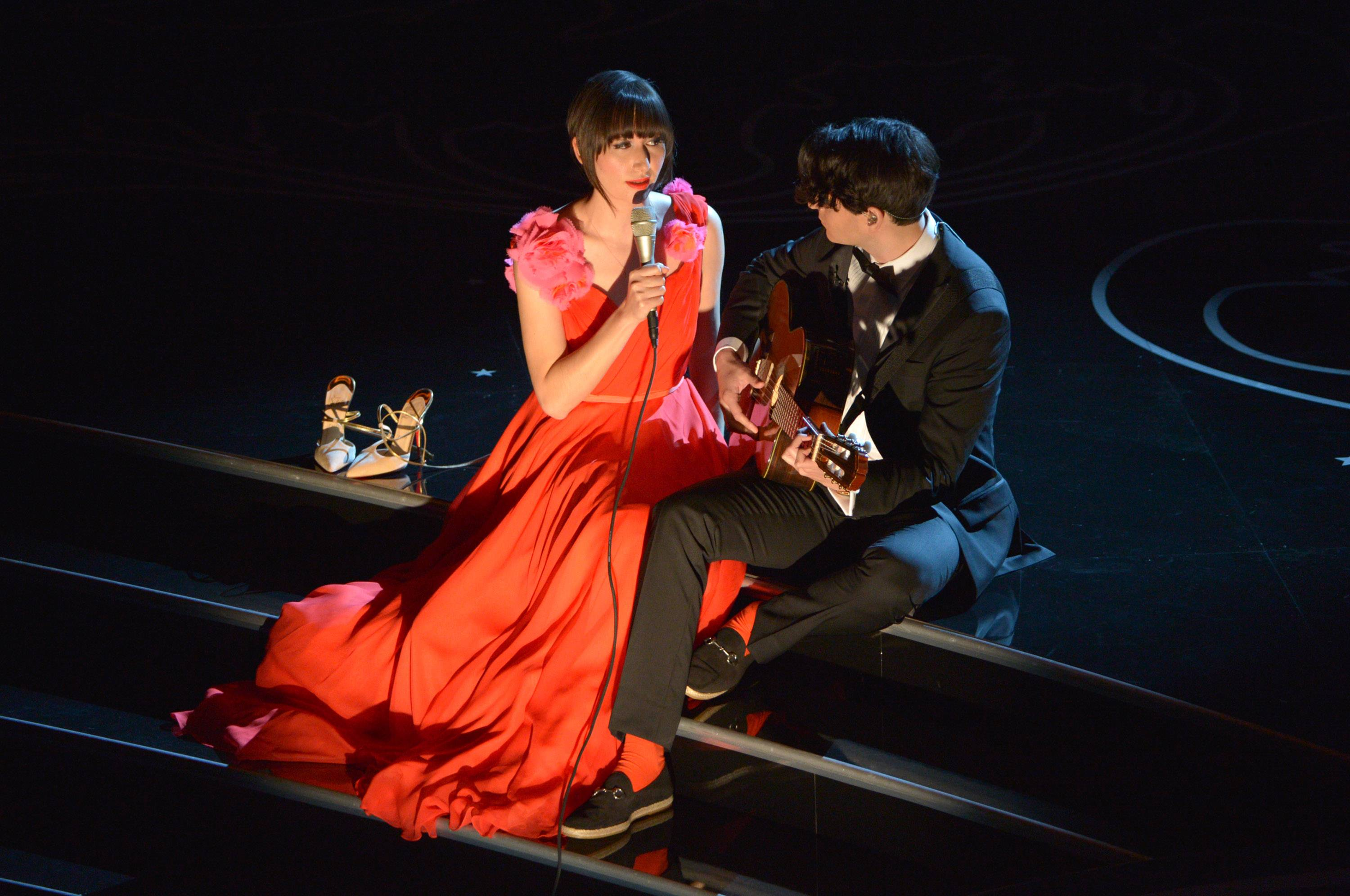 Karen O, left, and Ezra Koenig perform during the Oscars at the Dolby Theatre on Sunday.