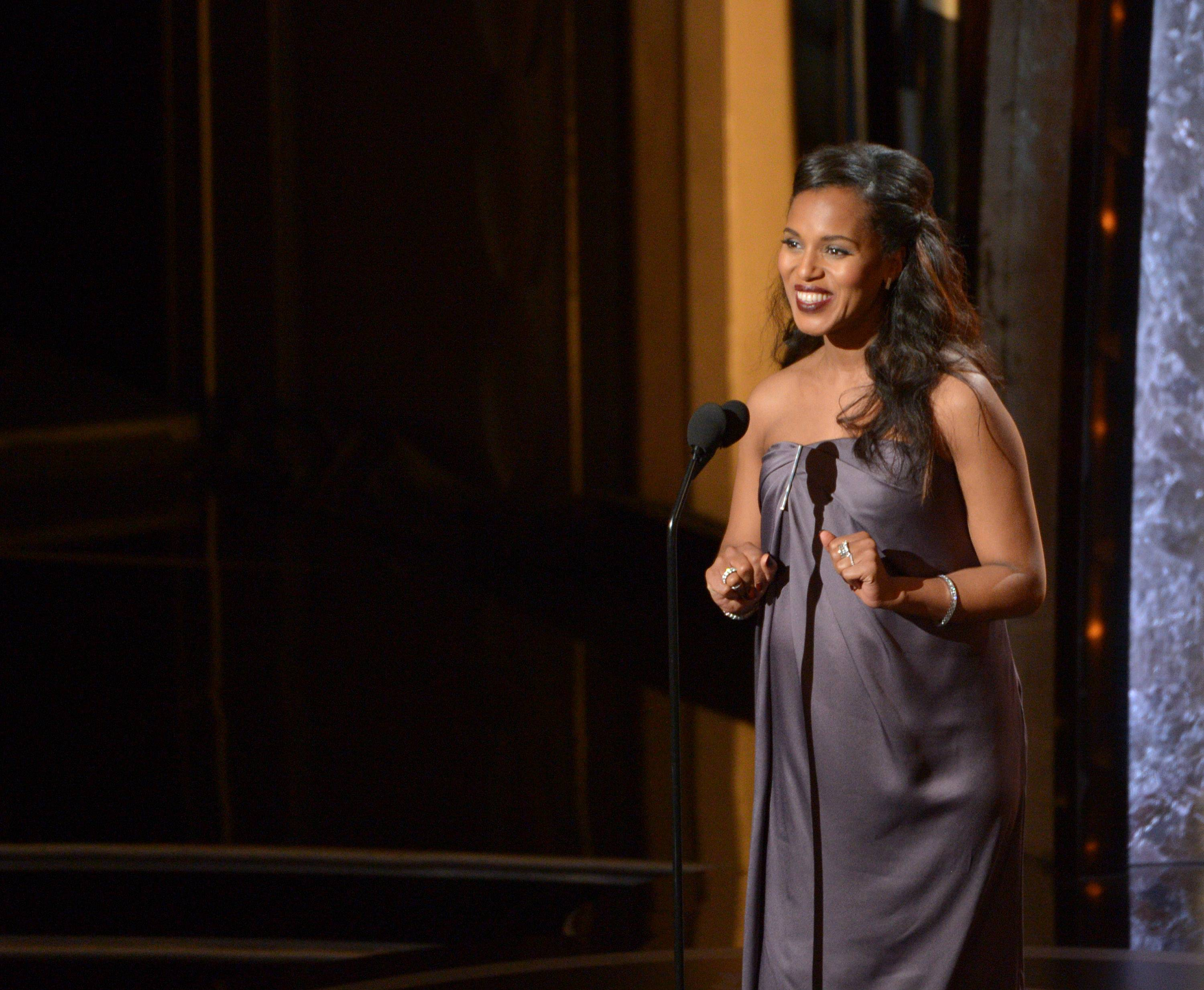 Kerry Washington speaks during the Oscars at the Dolby Theatre on Sunday.