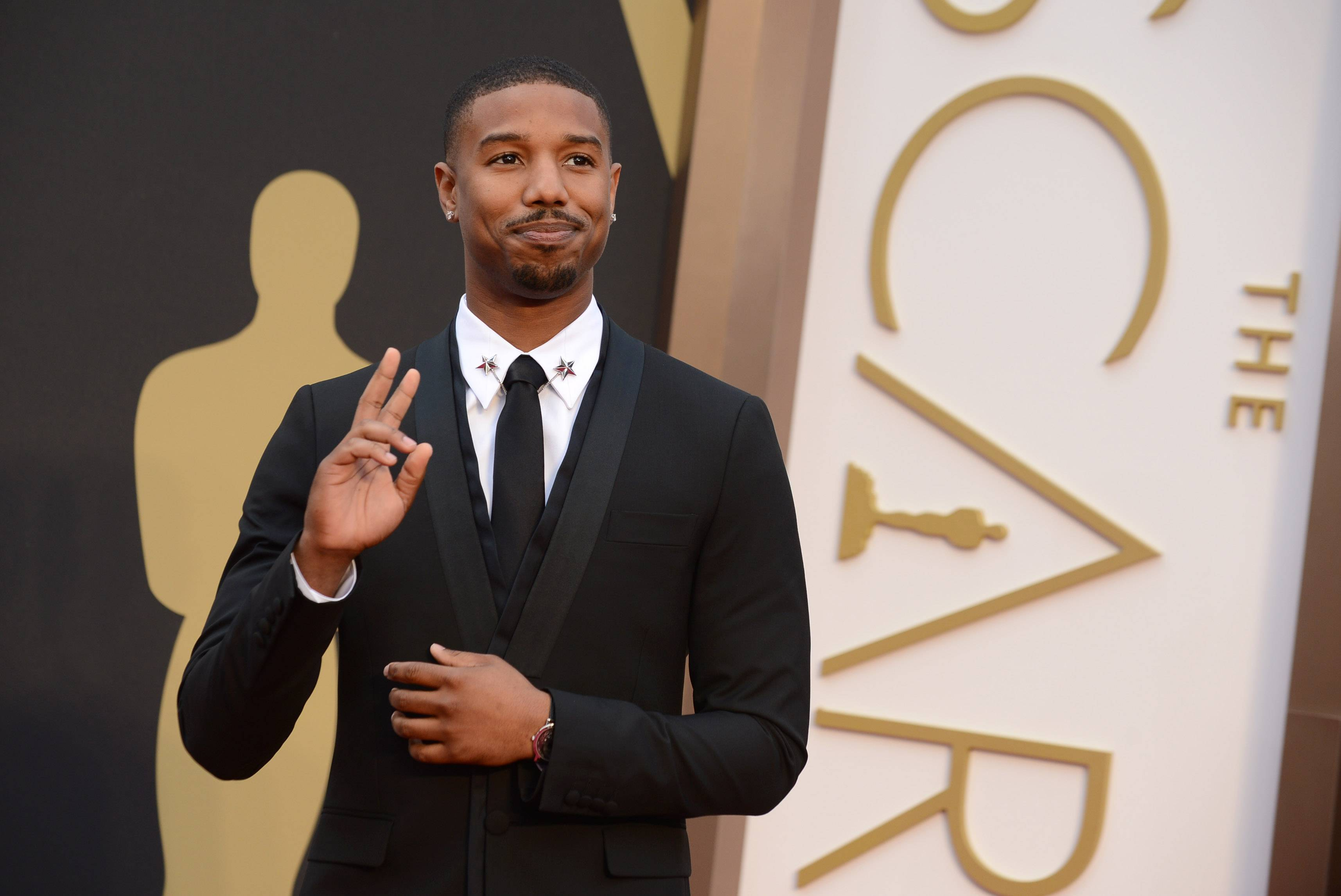 """Fruitvale Station"" star Michael B. Jordan poses for the press line Sunday at the Oscars in Los Angeles."