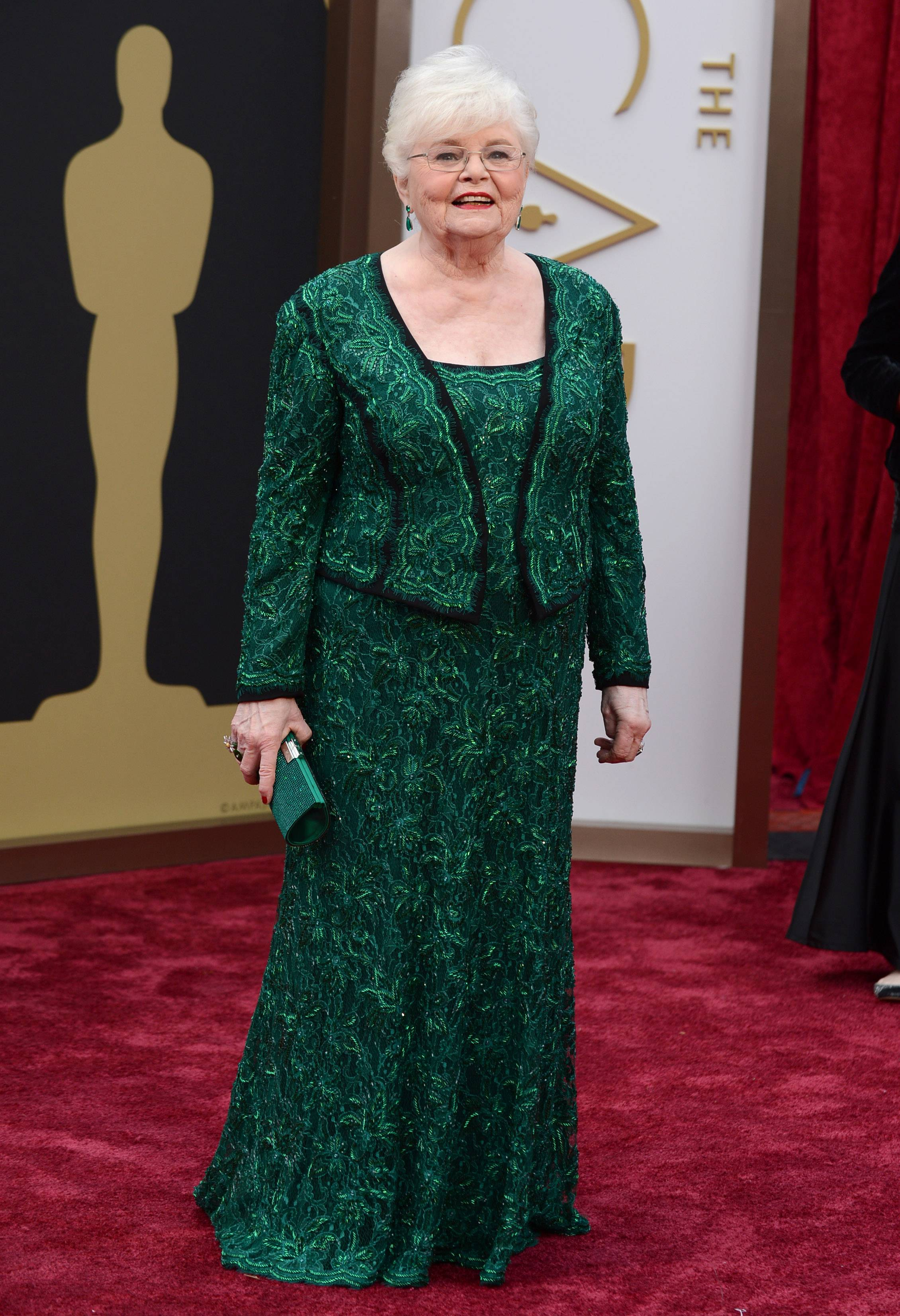 """Nebraska"" star and best supporting actress nominee June Squibb arrives at the Oscars on Sunday in Los Angeles."