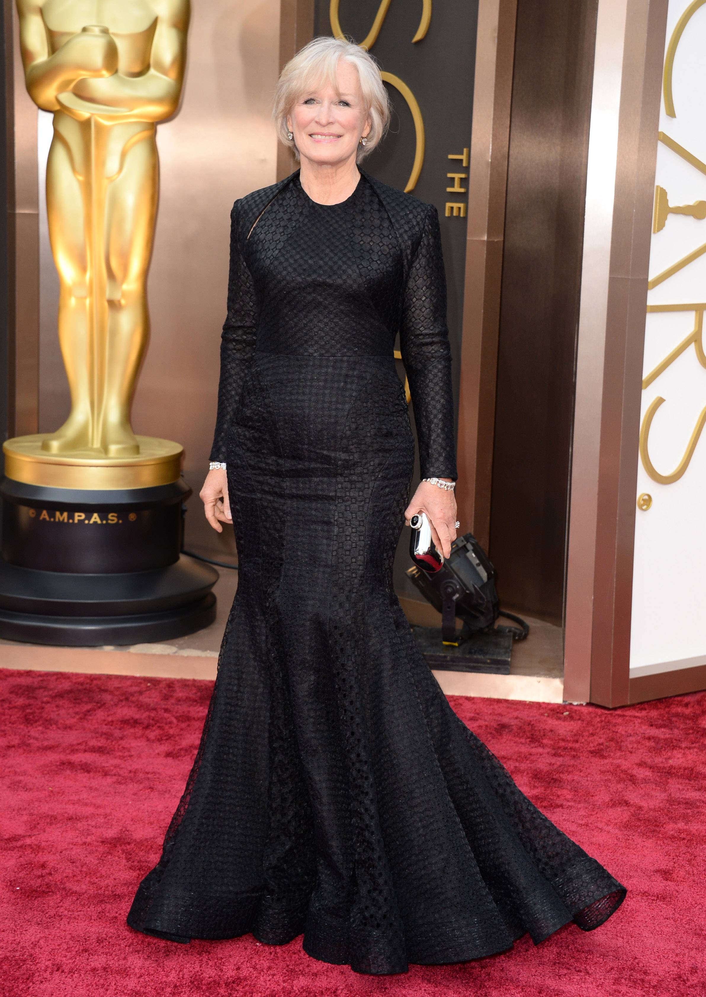 Glenn Close goes for classic black at the Oscars on Sunday in Los Angeles.