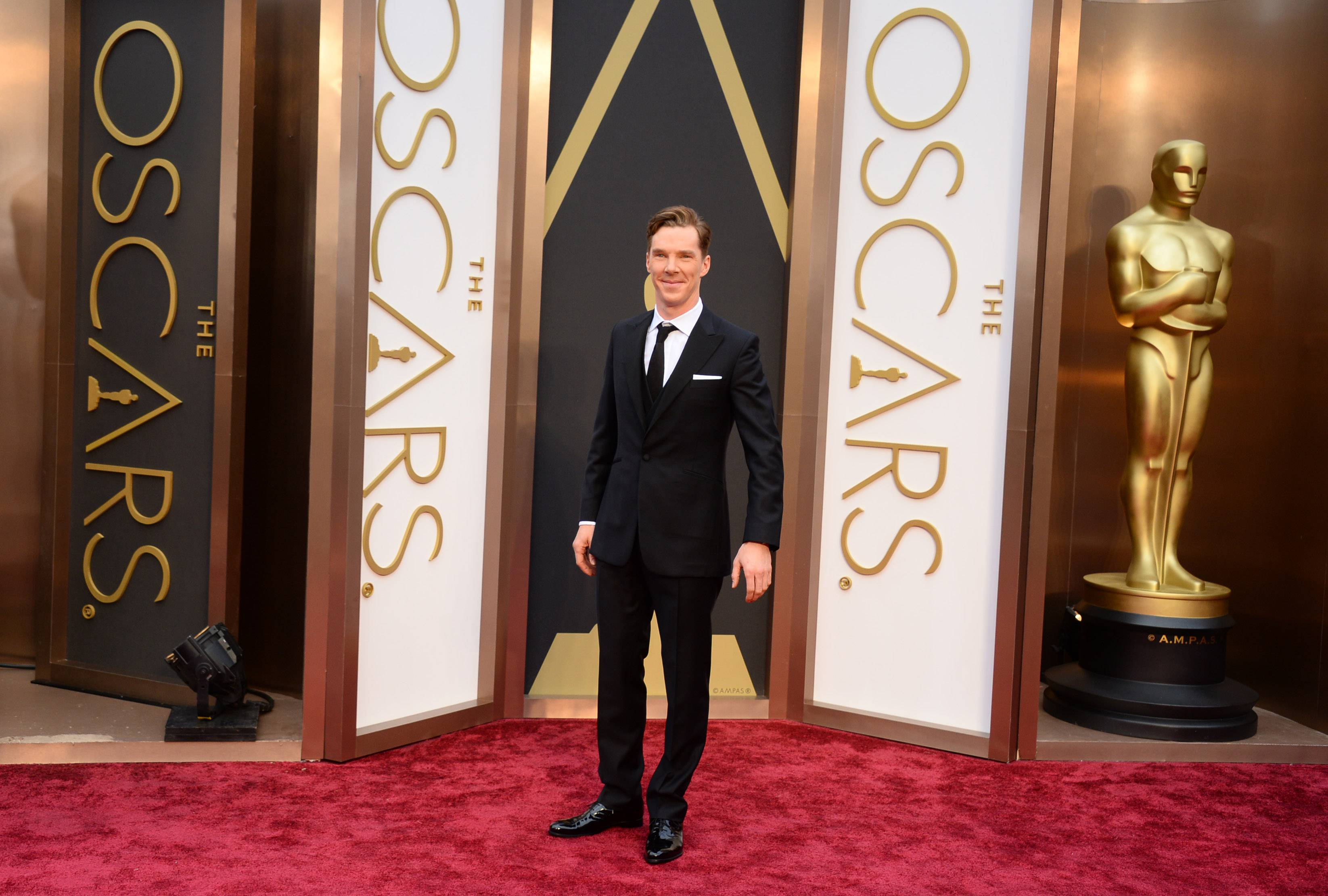 """Sherlock"" star Benedict Cumberbatch looks dapper decked out in his tux at the Oscars on Sunday."