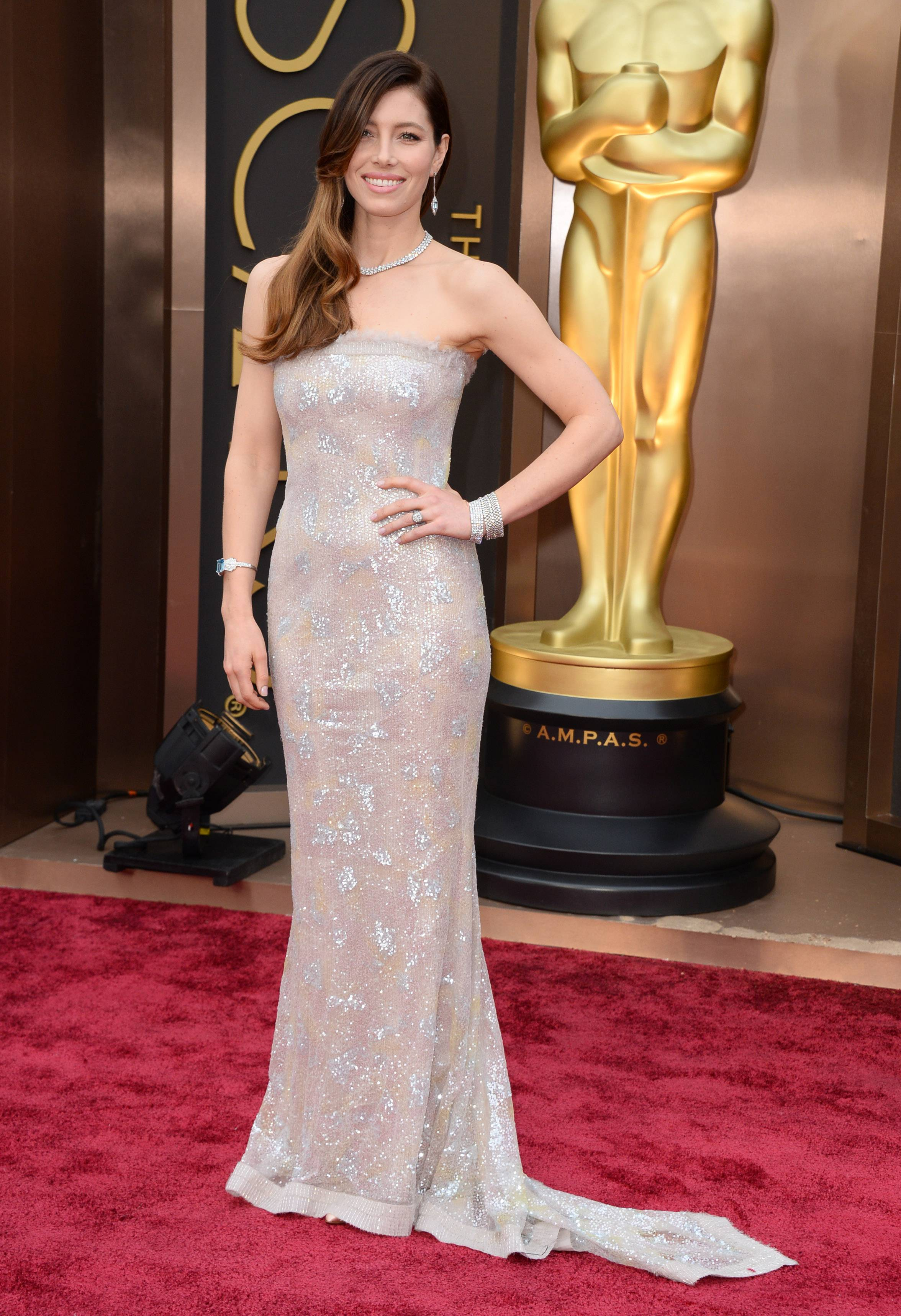 Actress Jessica Biel arrives at the Oscars on Sunday in Los Angeles.