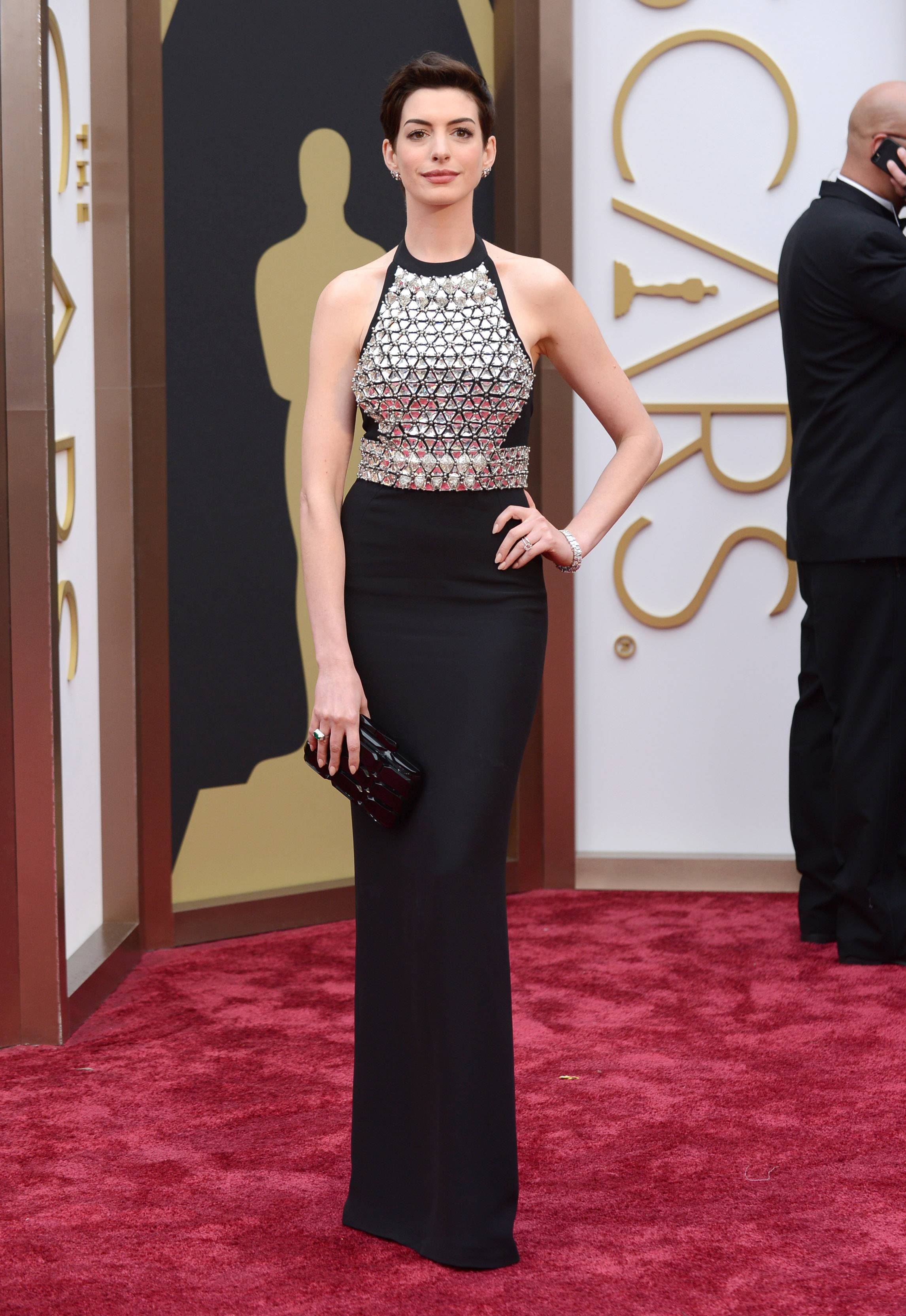 Oscar winner Anne Hathaway chooses an understated gown for this year's Oscars.