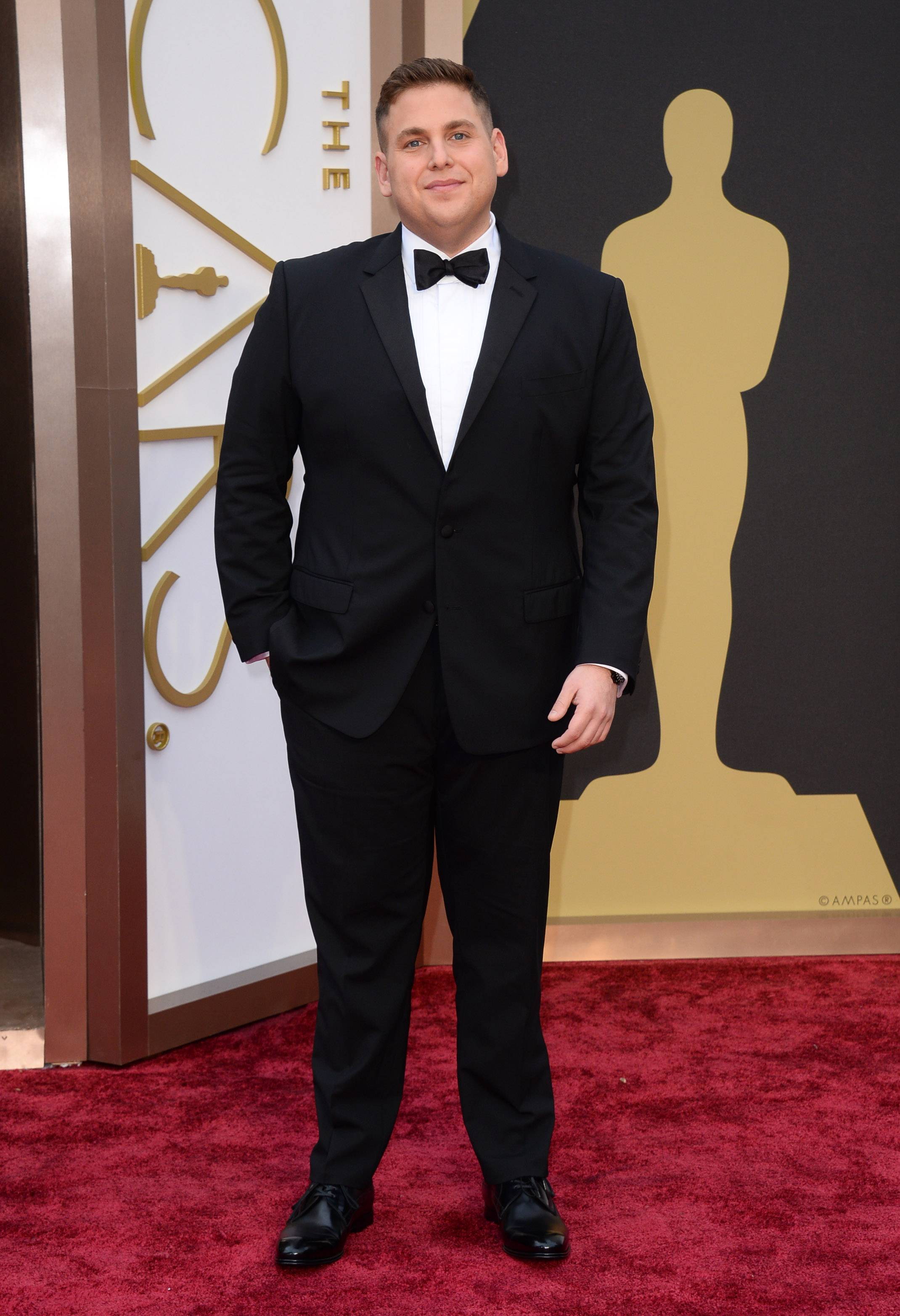 """Wolf of Wall Street"" star Jonah Hill arrives at the Oscars on Sundayi n Los Angeles."