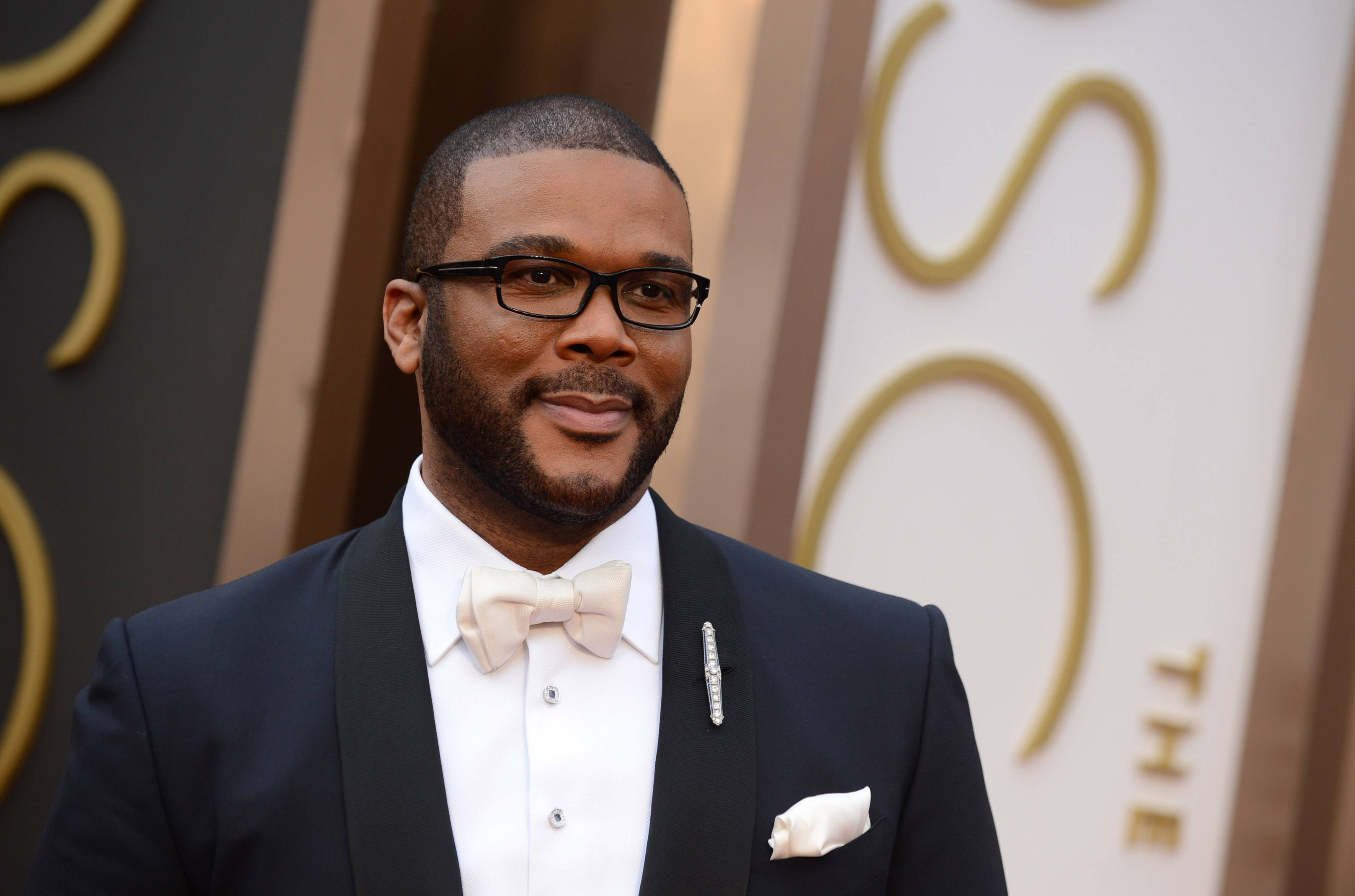Director and actor Tyler Perry arrives at the Oscars on Sunday  in Los Angeles.
