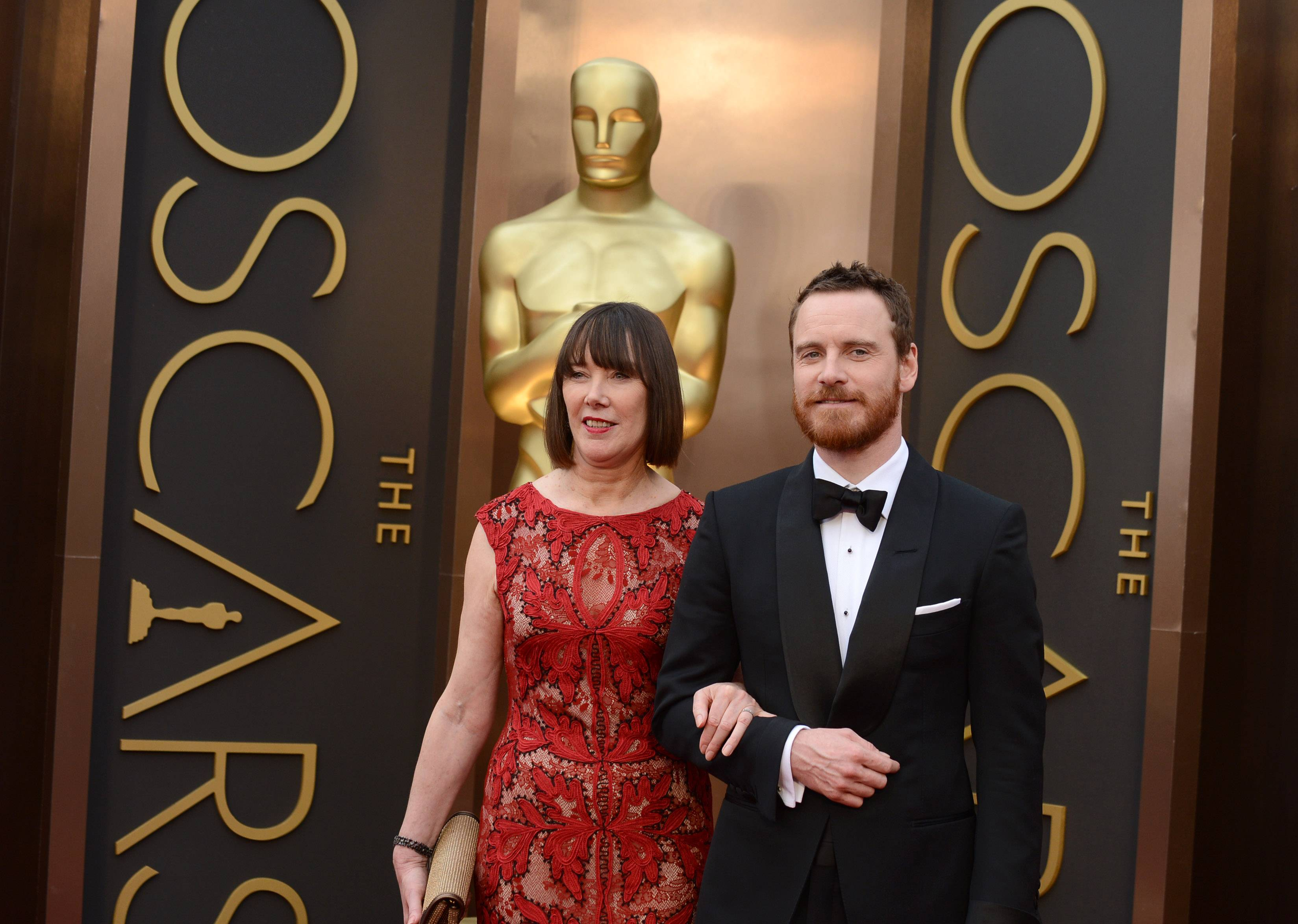 "Adele Fassbender, left, and ""12 Years a Slave"" star Michael Fassbender arrive at the Oscars on Sunday."