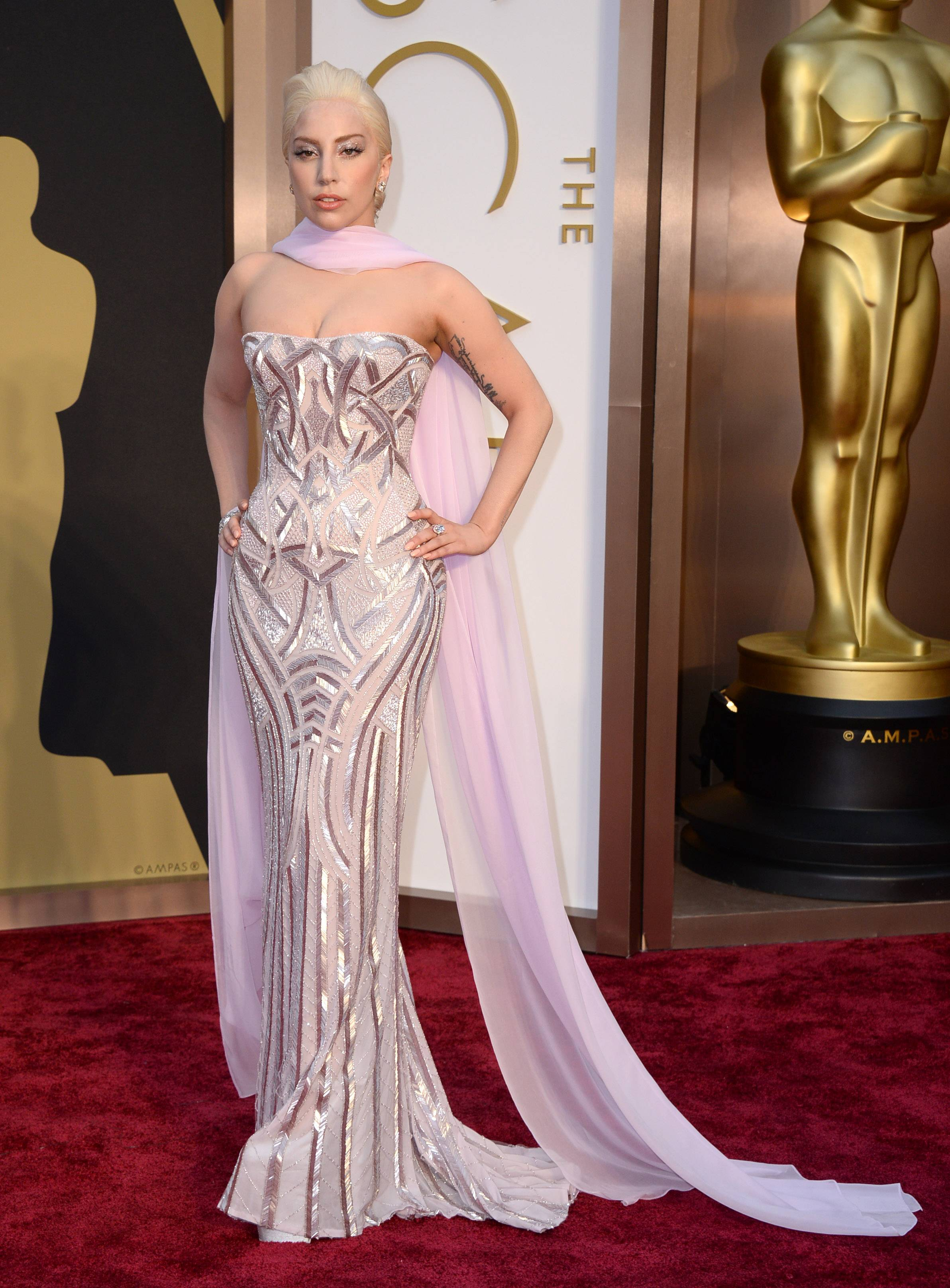 Lady Gaga looks rather sedate for ya know, Lady Gaga, on the Oscars red carpet.