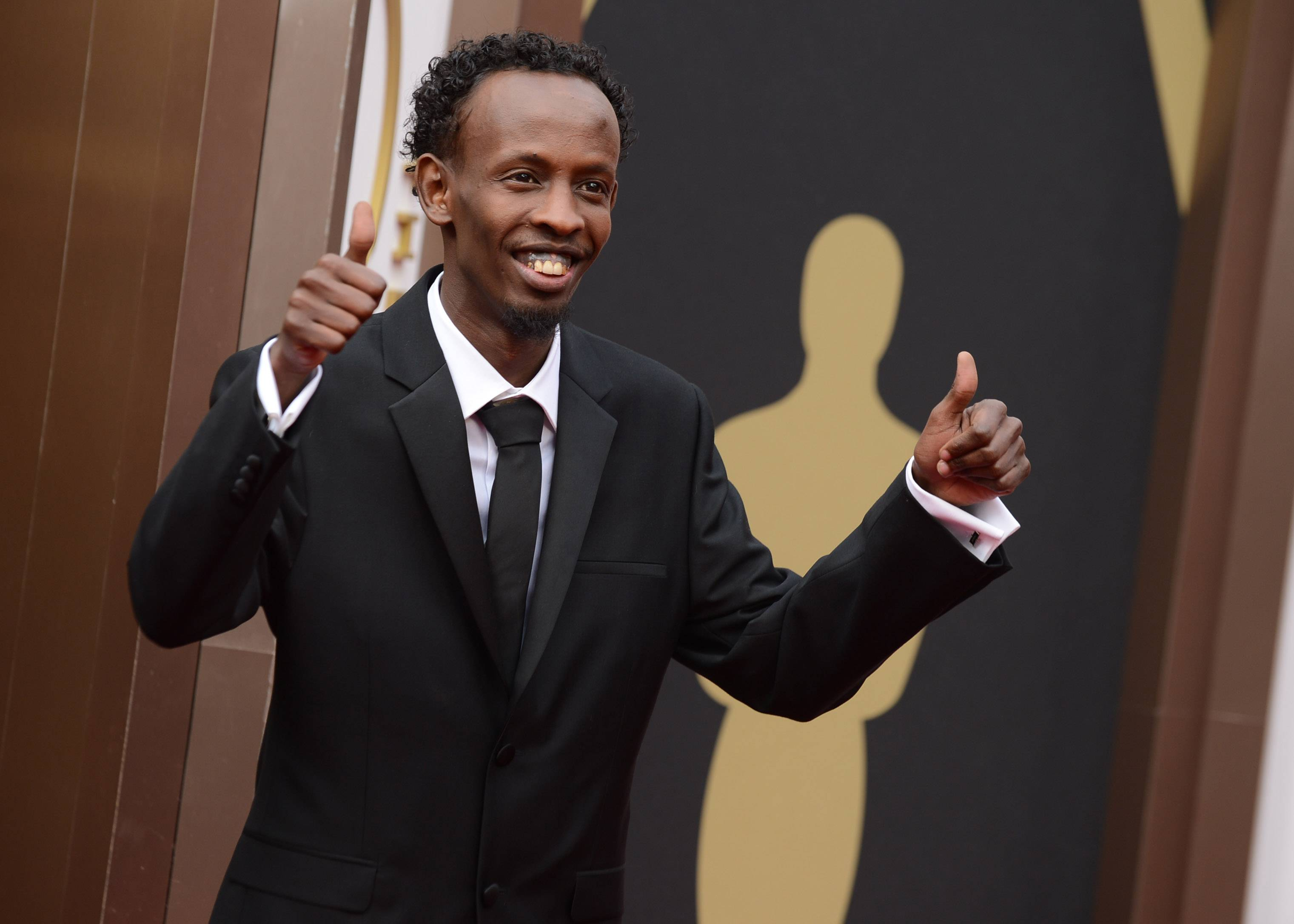 """Captain Phillips"" star and Oscar nominee Barkhad Abdi arrives at the Oscars on Sunday in Los Angeles."