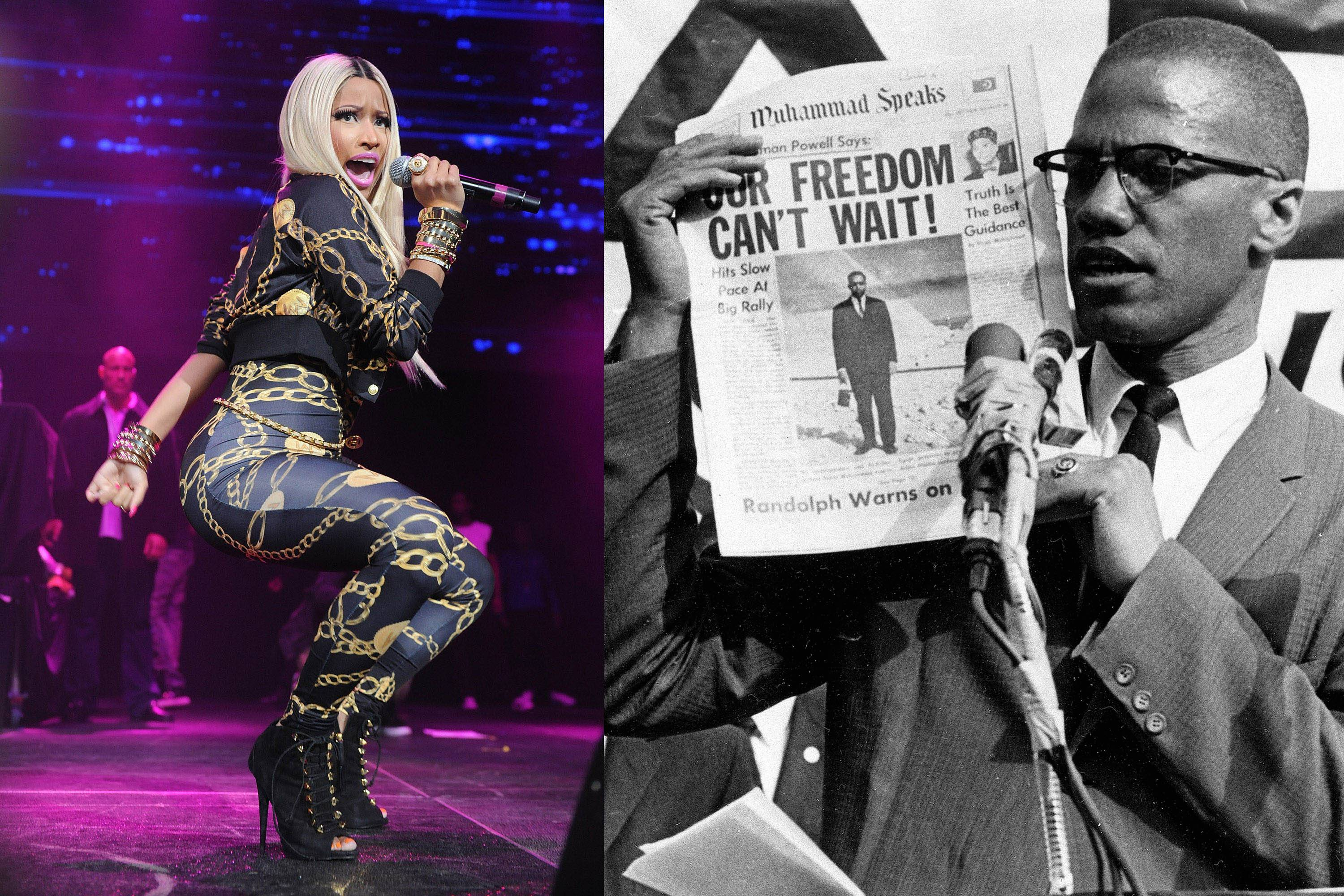 In this combination of 2013 and 1963 file photos, hip-hop artist Nicki Minaj performs, and Malcolm X, civil rights activist and black Muslim leader, holds a newspaper as he speaks at a rally in New York. On Thursday, Feb. 13, Minaj apologized after provoking widespread outrage with an Instagram and Web post featuring one of black history's most poignant images: Malcolm X peering out the window of his home, rifle in hand, trying to defend his wife and children from firebombs while under surveillance by federal agents. Superimposed on the photo: the title of Minaj's new song, which denigrates certain black men and repeats the N-word 42 times.