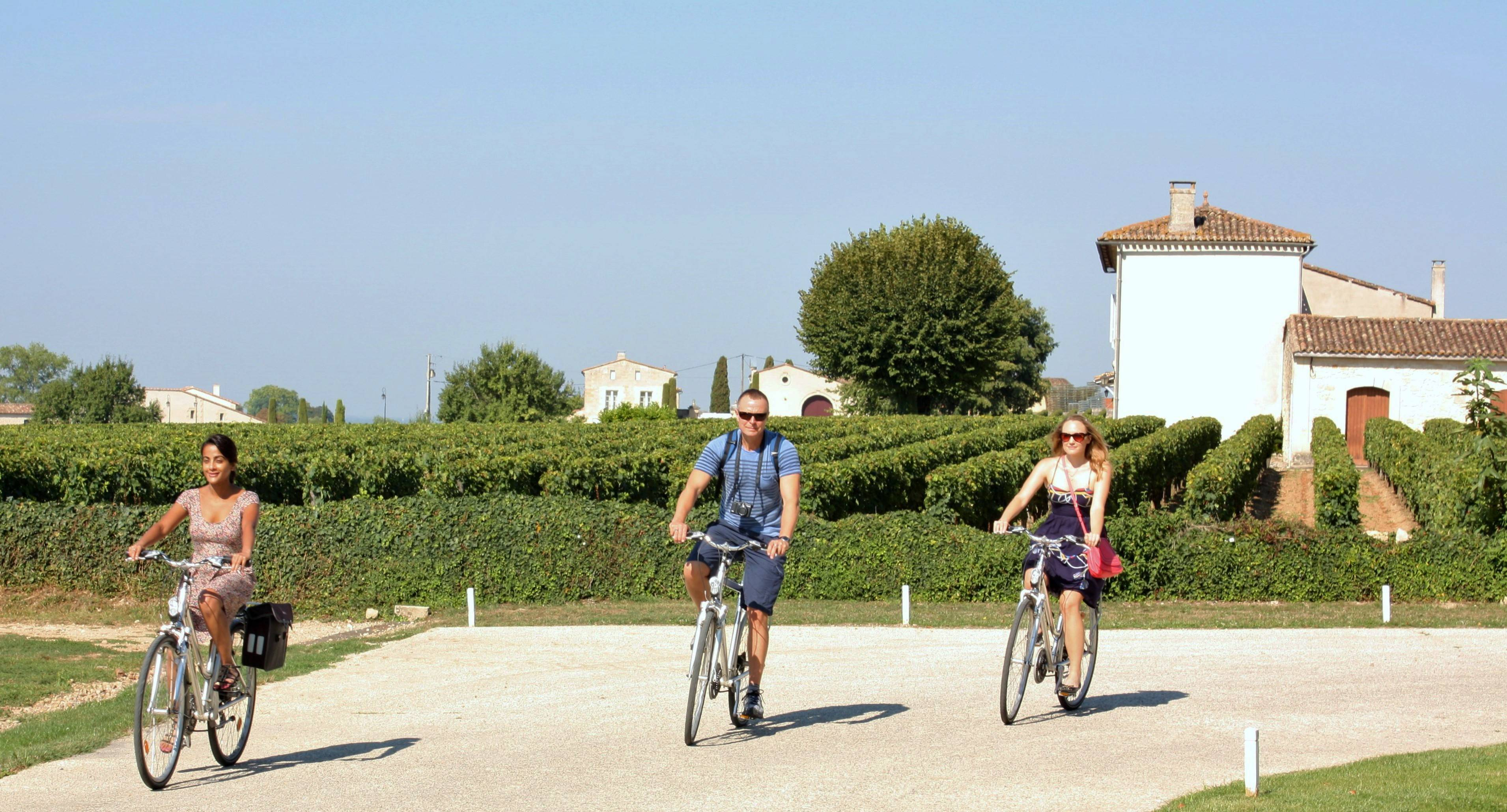 Charmaine Noronha, left, and two other passengers from Crystal Serenity take a bike tour during a port call in St.-Emilion in the wine region of France. Excursions like bike tours are popular among cruisers who enjoy active adventures in port, and there are a variety of similar adventures to choose from.