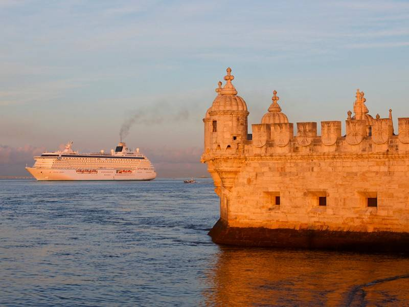 A cruise on Crystal Serenity, here in the waters off of Lisbon, Portugal, can be combined with bike tours in various ports that offer passengers an active way to experience the destination.