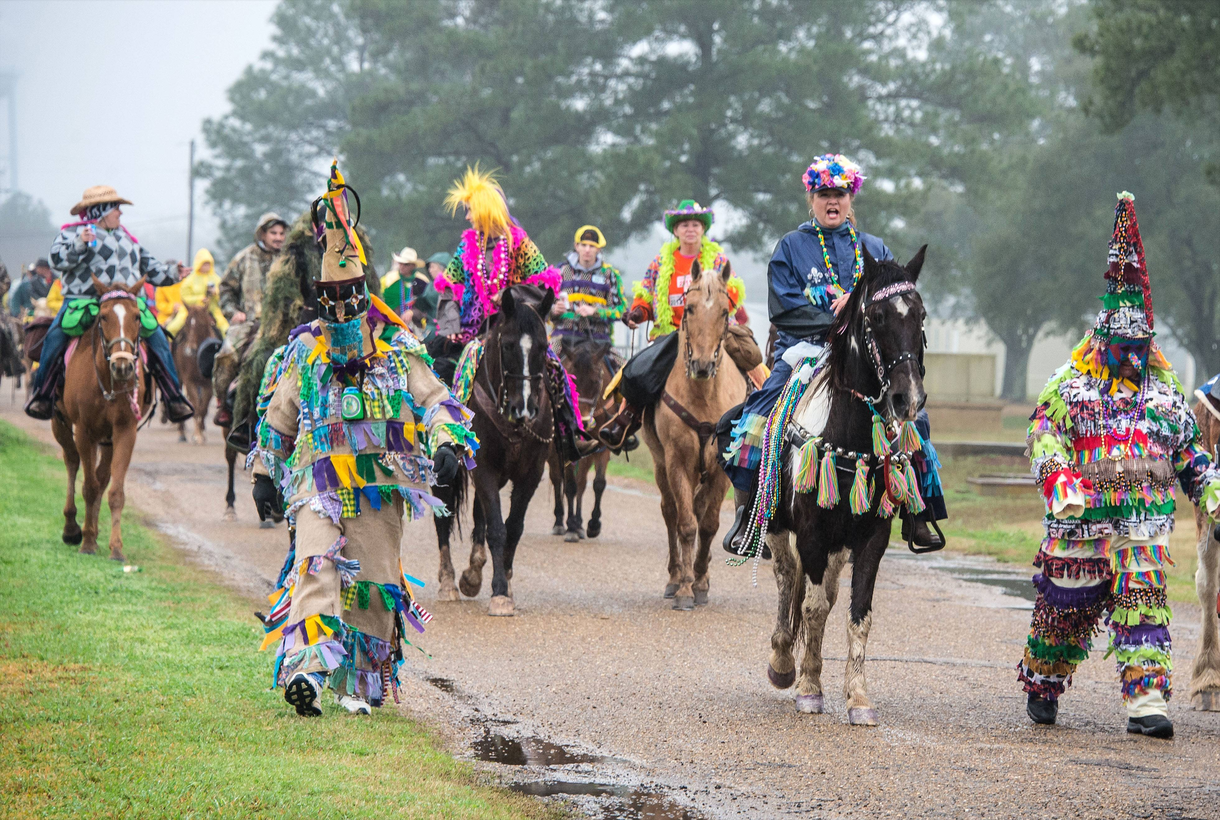 People from all over participate in the Courir de Mardi Gras in Eunice, La., a Mardi Gras season tradition in Louisiana's Cajun country. The courir is a procession on foot, horseback and by trailer, rooted in a rural custom of gathering ingredients for a communal meal from area farms.