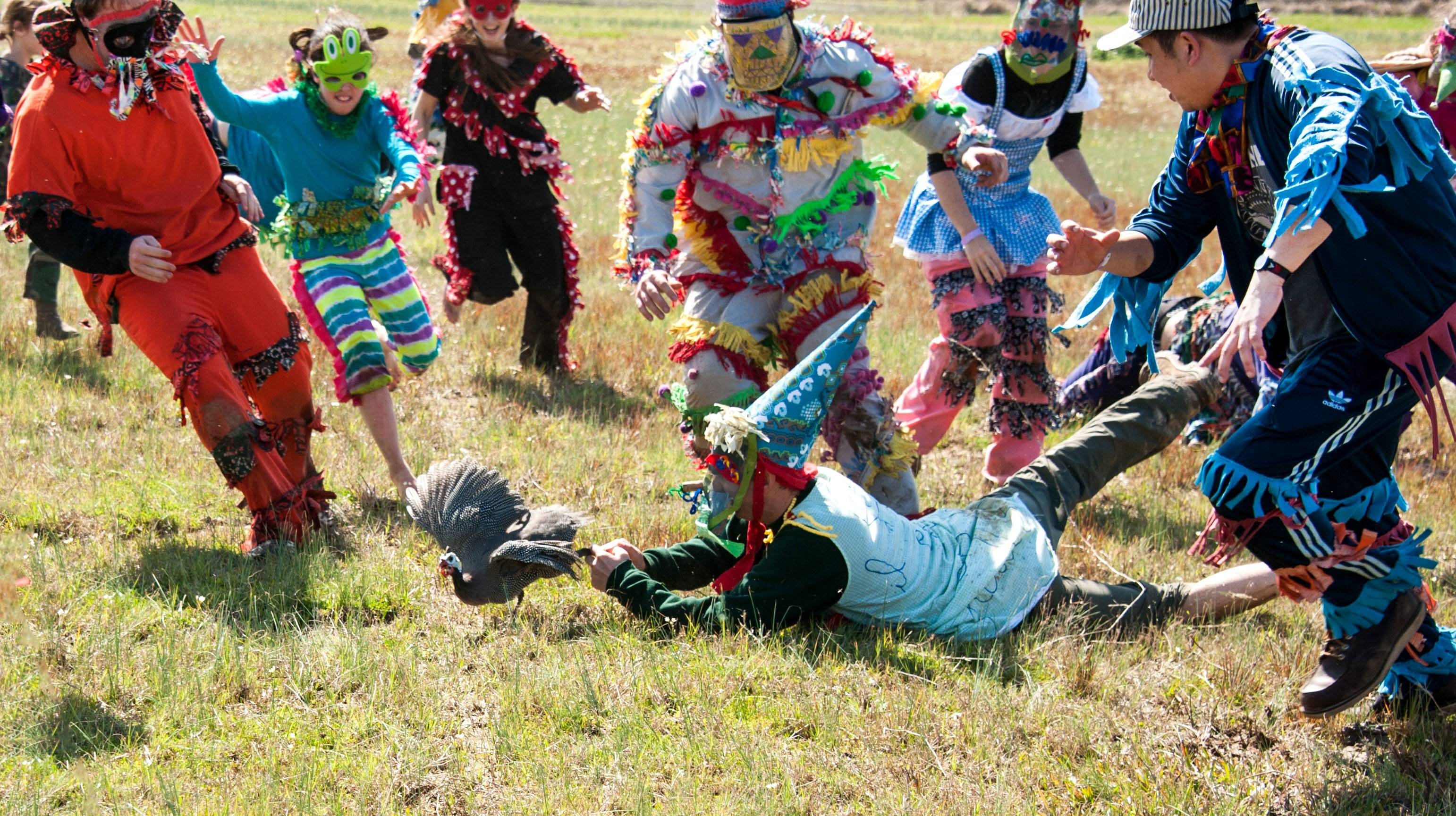 Young participants take part in a guinea hen chase in Eunice, La., a Mardi Gras season tradition in Louisiana's Cajun country. The region has its own family-oriented Mardi Gras customs rooted in rural traditions, very different from the Mardi Gras parties and parades of New Orleans.