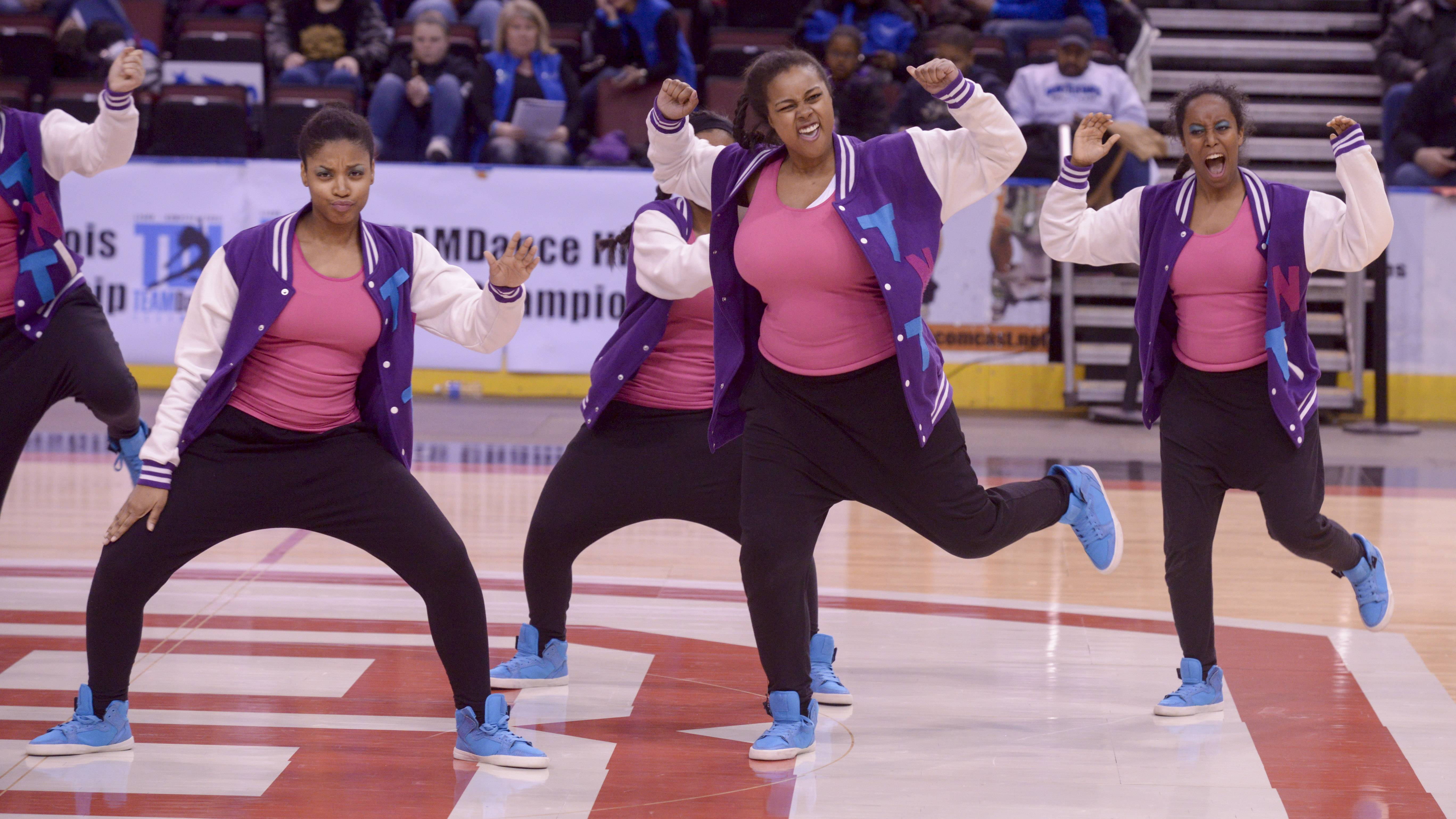Illinois Math and Science Academy performs in the 2A Hip Hop category during the TEAMDance Illinois 2014 Grand Championship in Peoria, Sunday March 2nd.