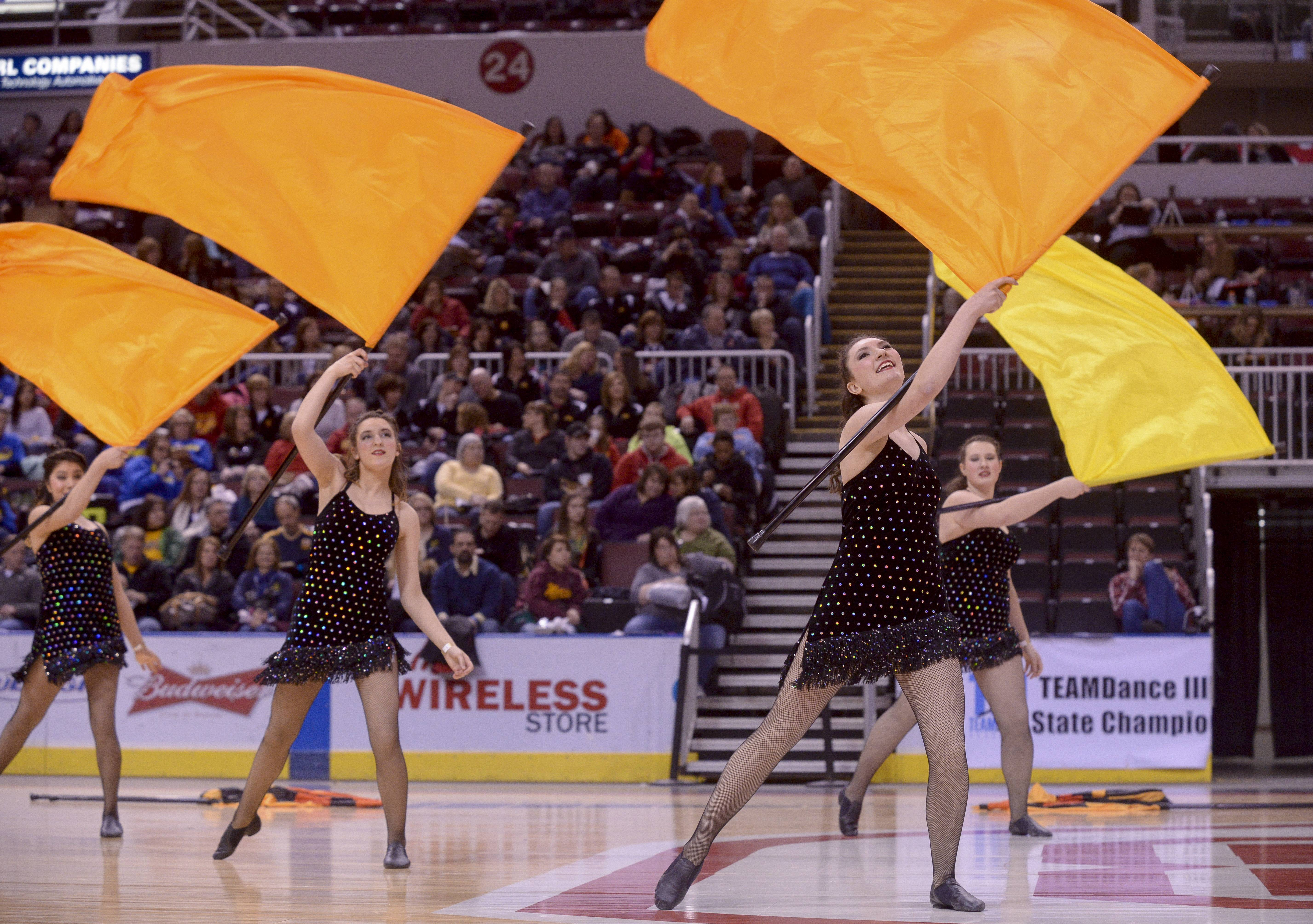 Barrington High School performs in the Varsity Flag Lyrical Flag category during the TEAMDance Illinois 2014 Grand Championship in Peoria, Sunday March 2nd.