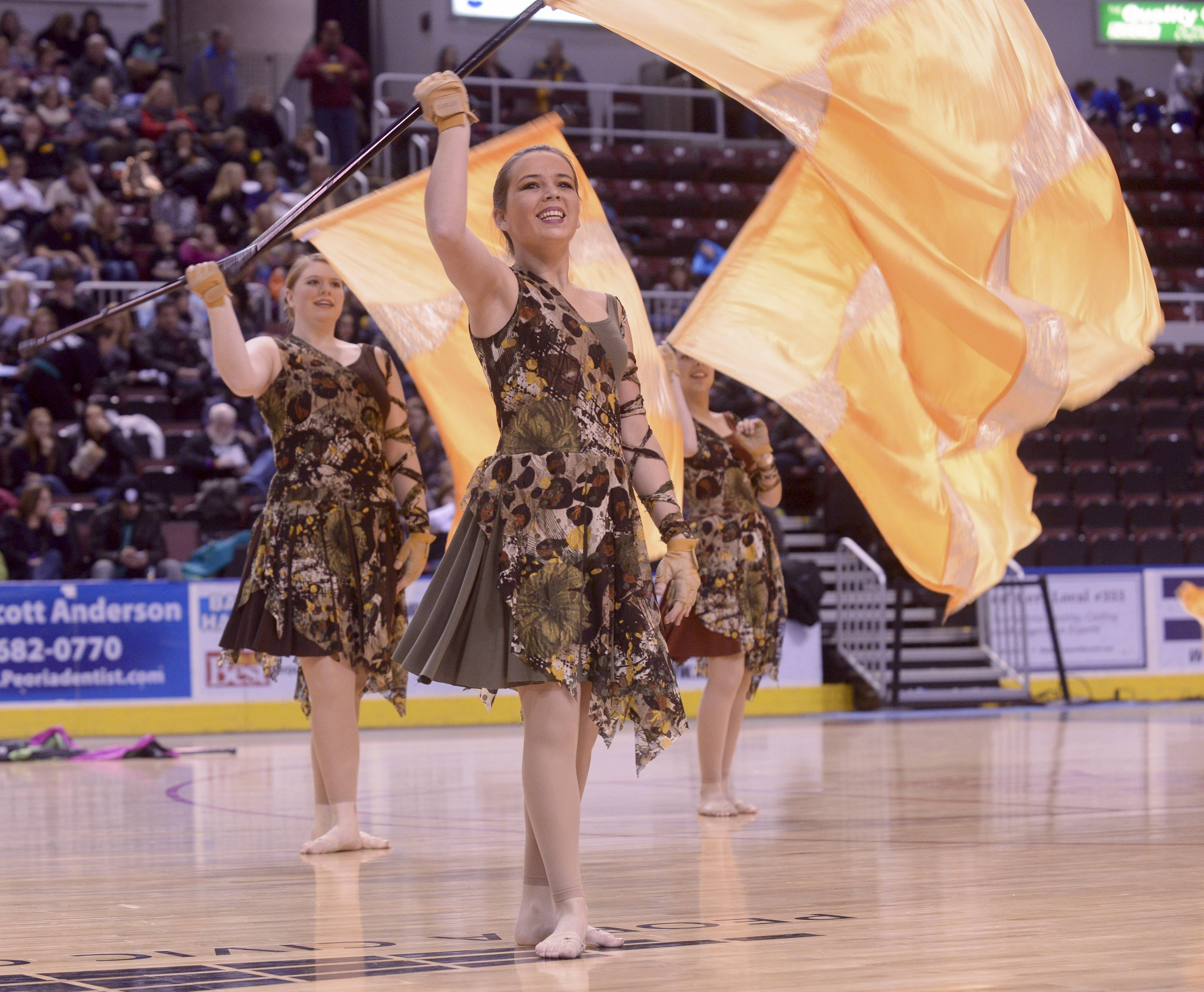 Stevenson High School performs in the Varsity Flag Lyrical Flag category during the TEAMDance Illinois 2014 Grand Championship in Peoria, Sunday March 2nd.