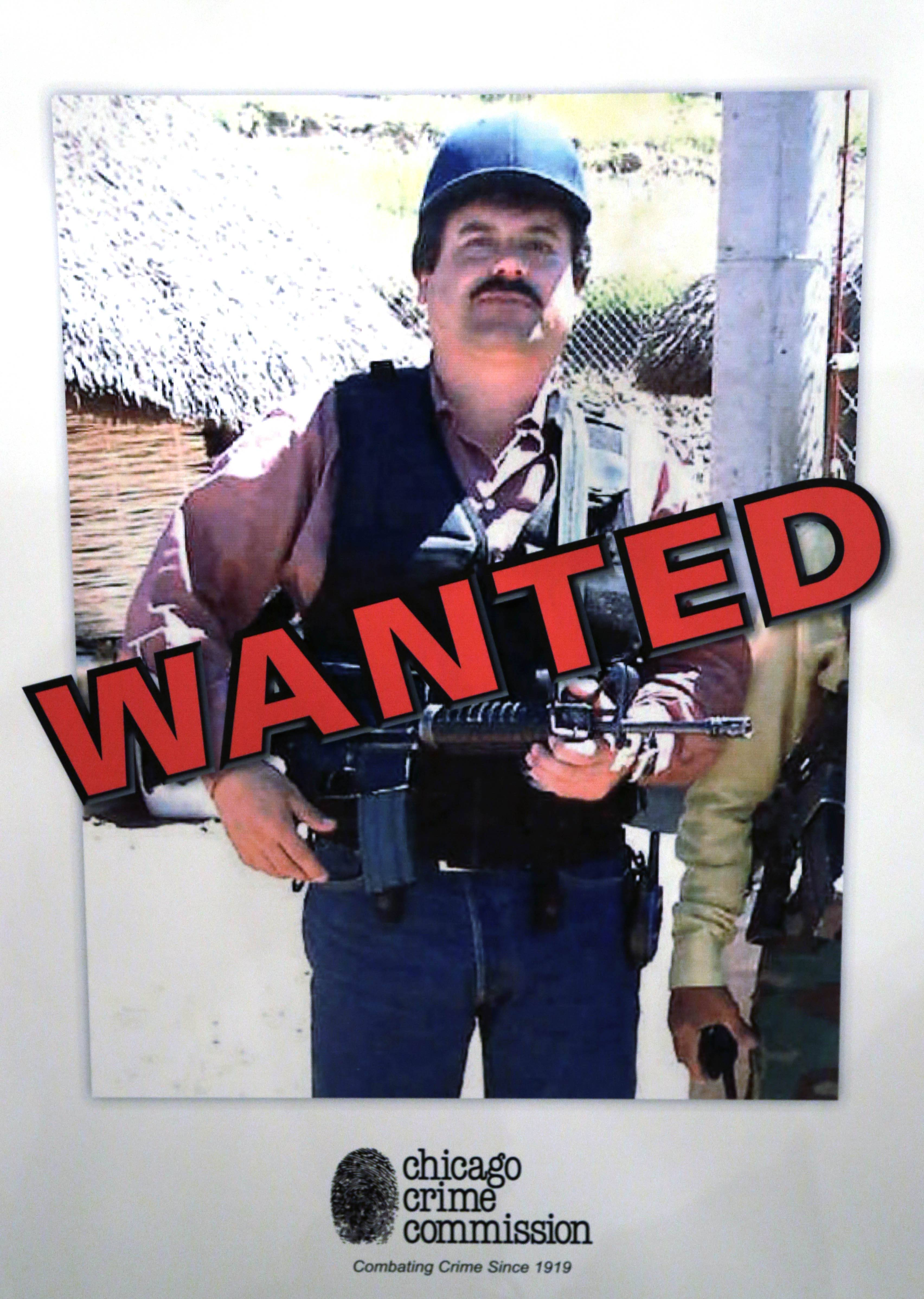 "This Feb. 14, 2013 image of a poster displayed at a Chicago Crime Commission news conference shows Joaquin ""El Chapo"" Guzman, a drug kingpin in Mexico, who was deemed Chicago's Public Enemy No. 1. It was the first time since prohibition, when the label was created for Al Capone, that it was used to describe a criminal. Guzman, the one they called ""shorty"" because of his 5'6"" frame, a man who grew up poor and had no formal education, would rise from a small-time Mexican marijuana producer to lead the world's most powerful drug cartel."