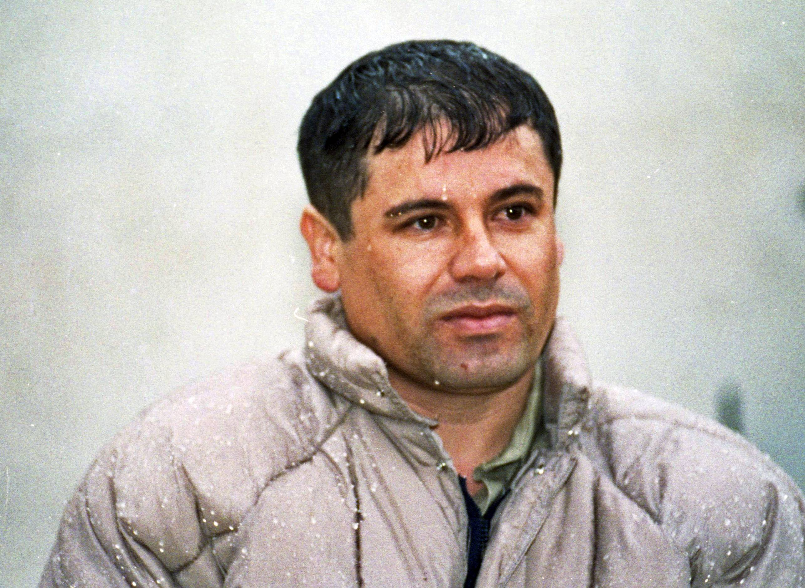 "In this June 10, 1993, file photo, Joaquin Guzman Loera, alias ""El Chapo"" Guzman, is shown to the media after his arrest at the high security prison of Almoloya de Juarez, on the outskirts of Mexico City. Guzman, the one they called ""shorty"" because of his 5'6"" frame, was a man who grew up poor and had no formal education, would rise from a small-time Mexican marijuana producer to lead the world's most powerful drug cartel."